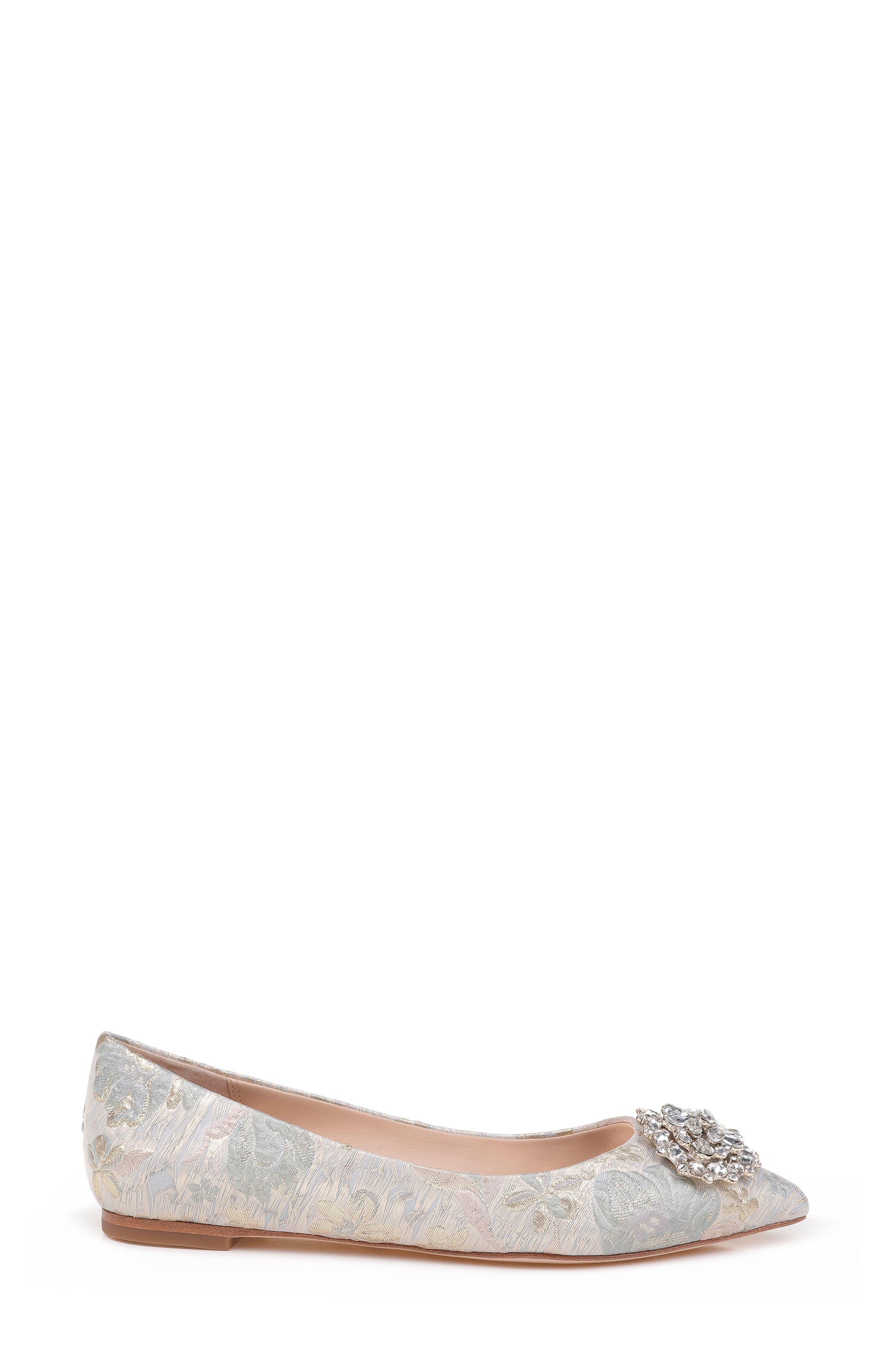 'Davis' Crystal Embellished Pointy Toe Flat,                             Alternate thumbnail 3, color,                             Platino Brocade Fabric