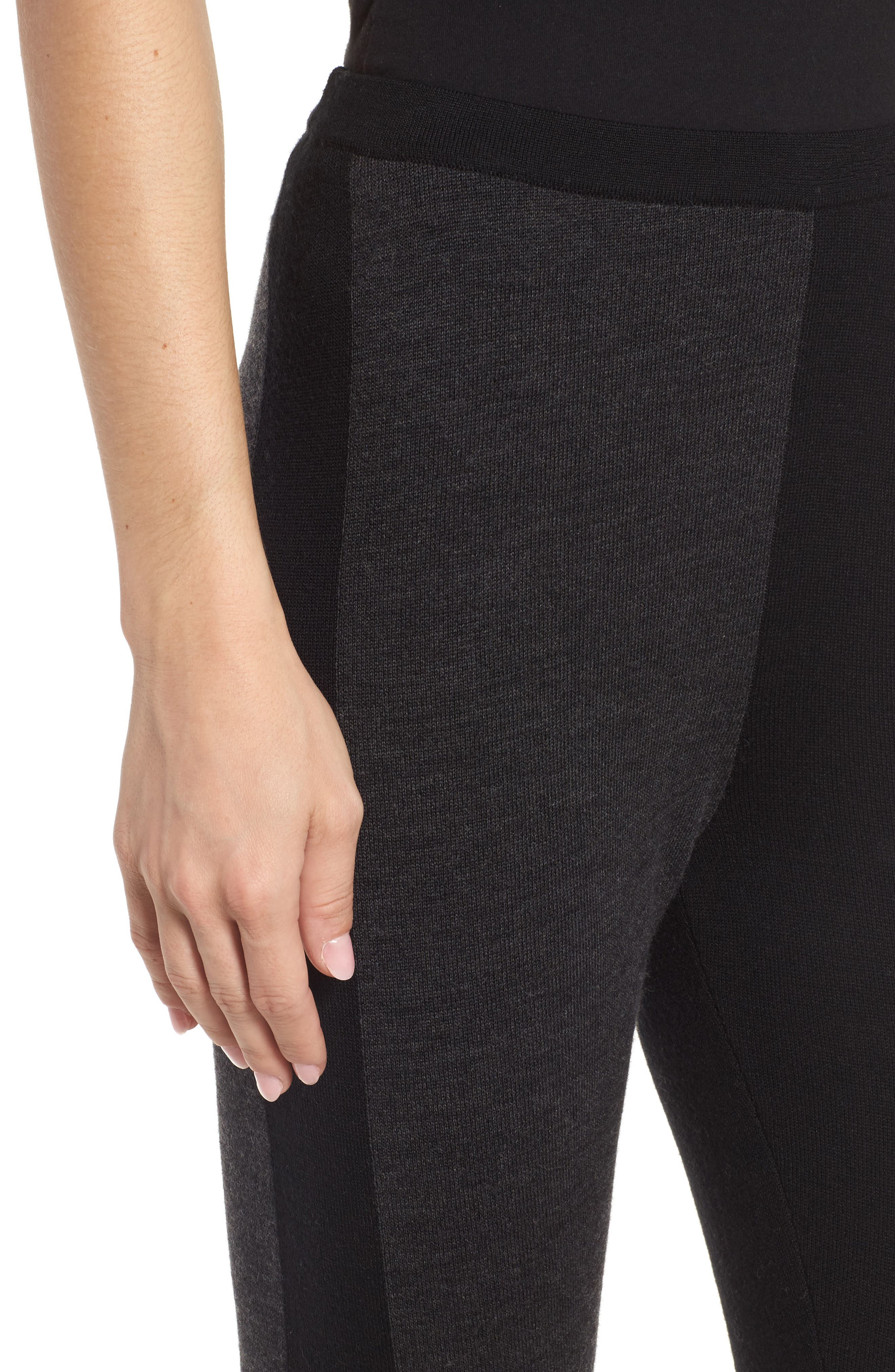 Colorblock Leggings,                             Alternate thumbnail 4, color,                             Charcoal Black