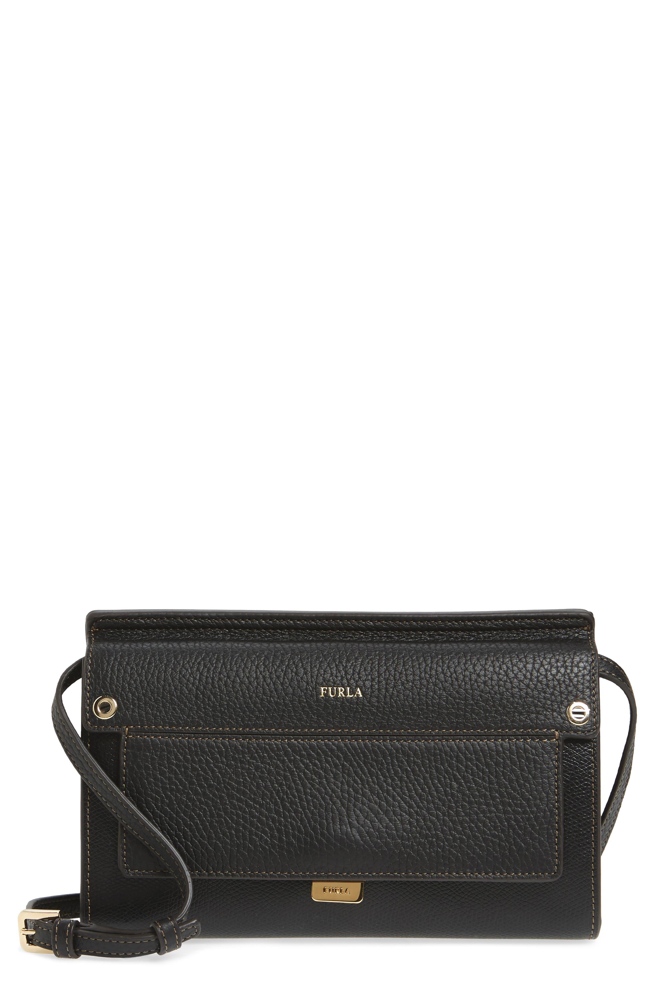 Mini Like Leather Crossbody Bag,                             Main thumbnail 1, color,                             Onyx