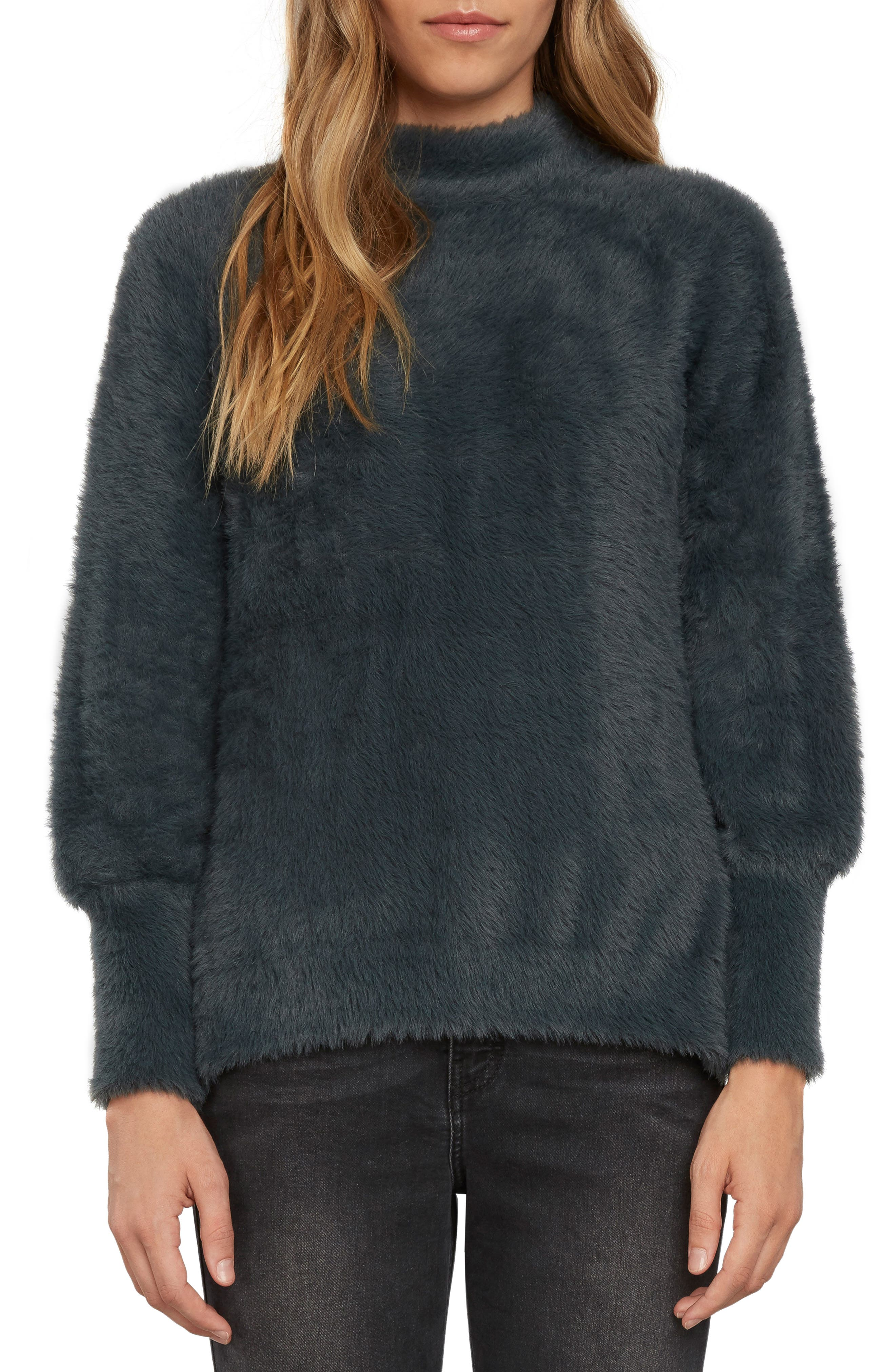 Fuzzy Mock Neck Sweater,                             Main thumbnail 1, color,                             Slate
