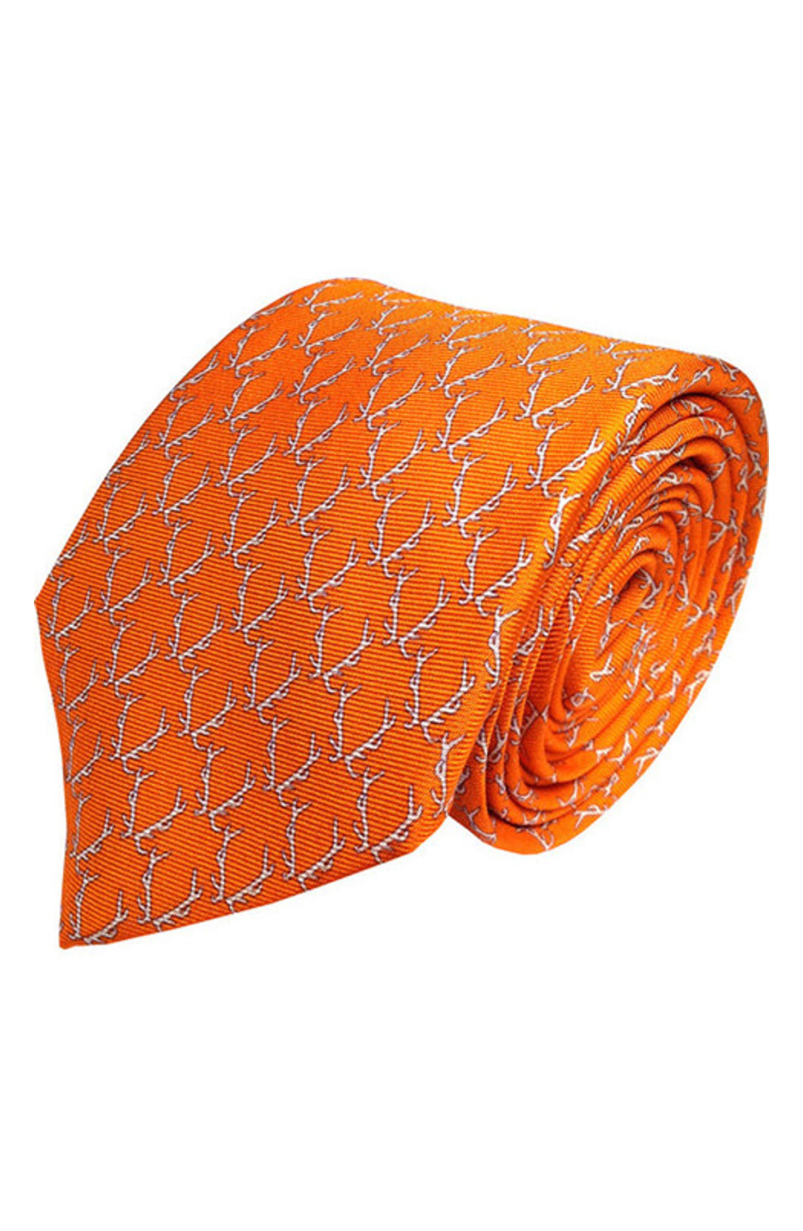 Buckwild Silk Tie,                             Main thumbnail 1, color,                             Orange