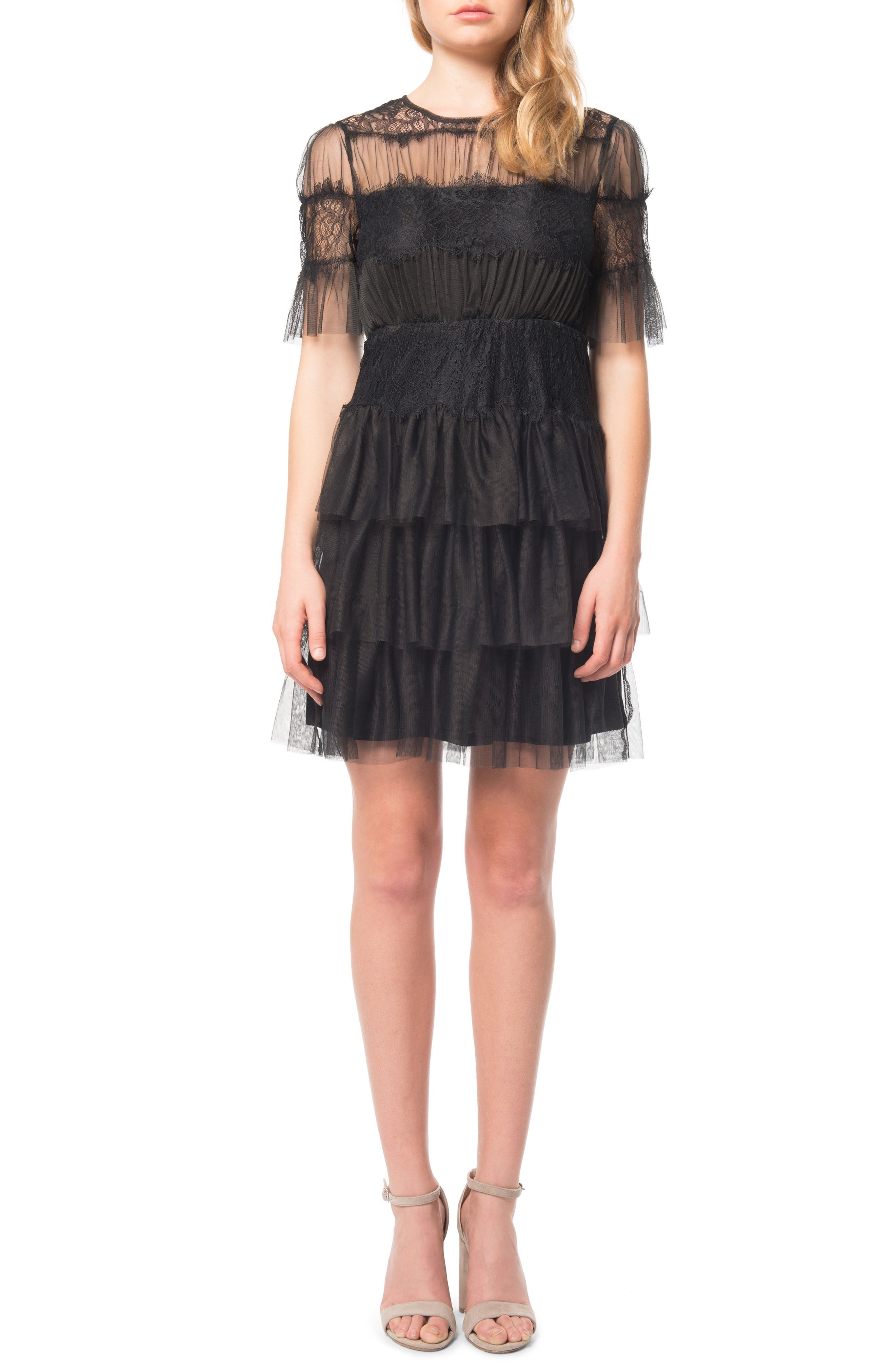Ruffle Tulle Dress,                         Main,                         color, Black