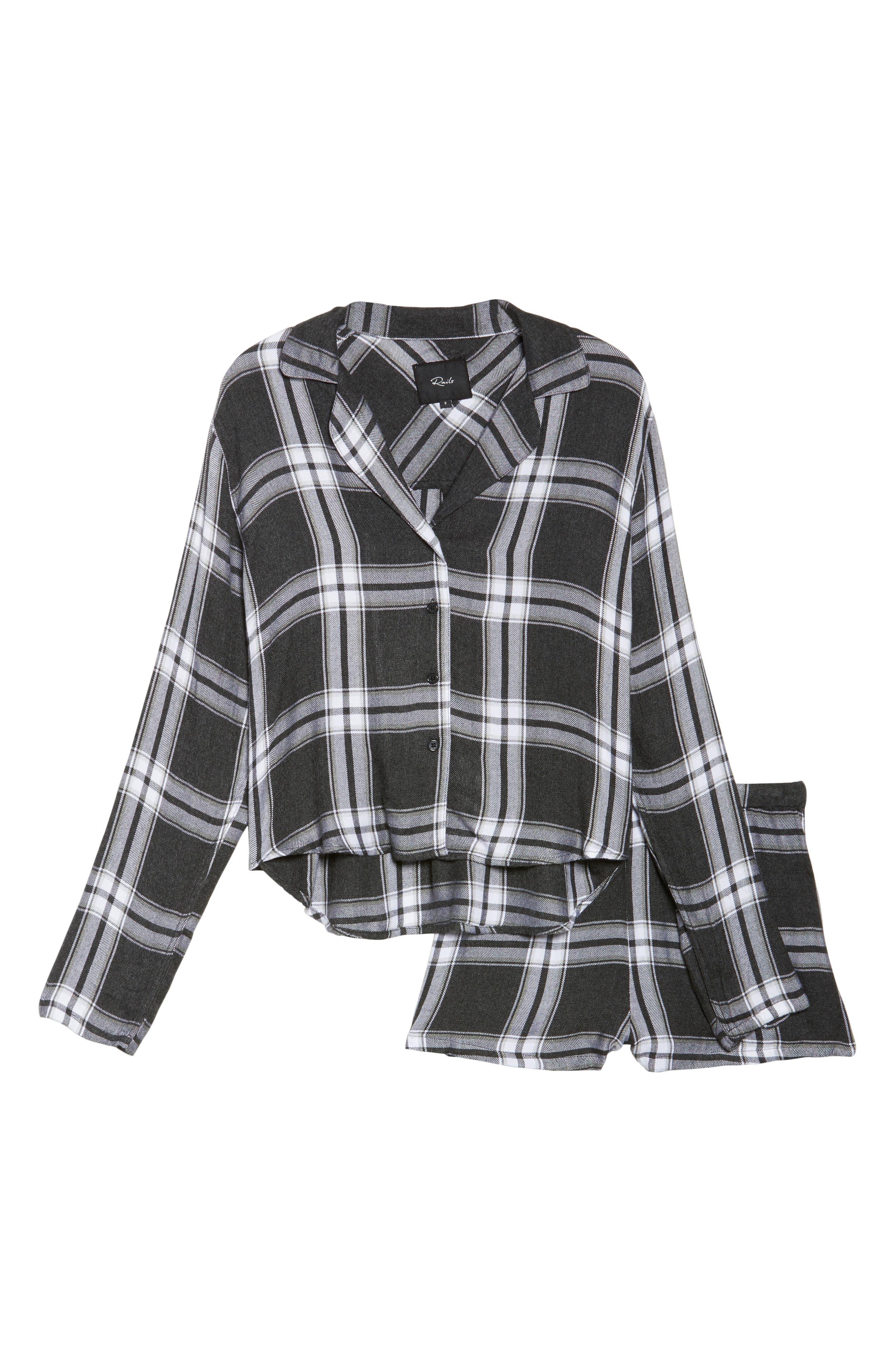 Plaid Short Pajamas,                             Alternate thumbnail 4, color,                             Ash/ Bone