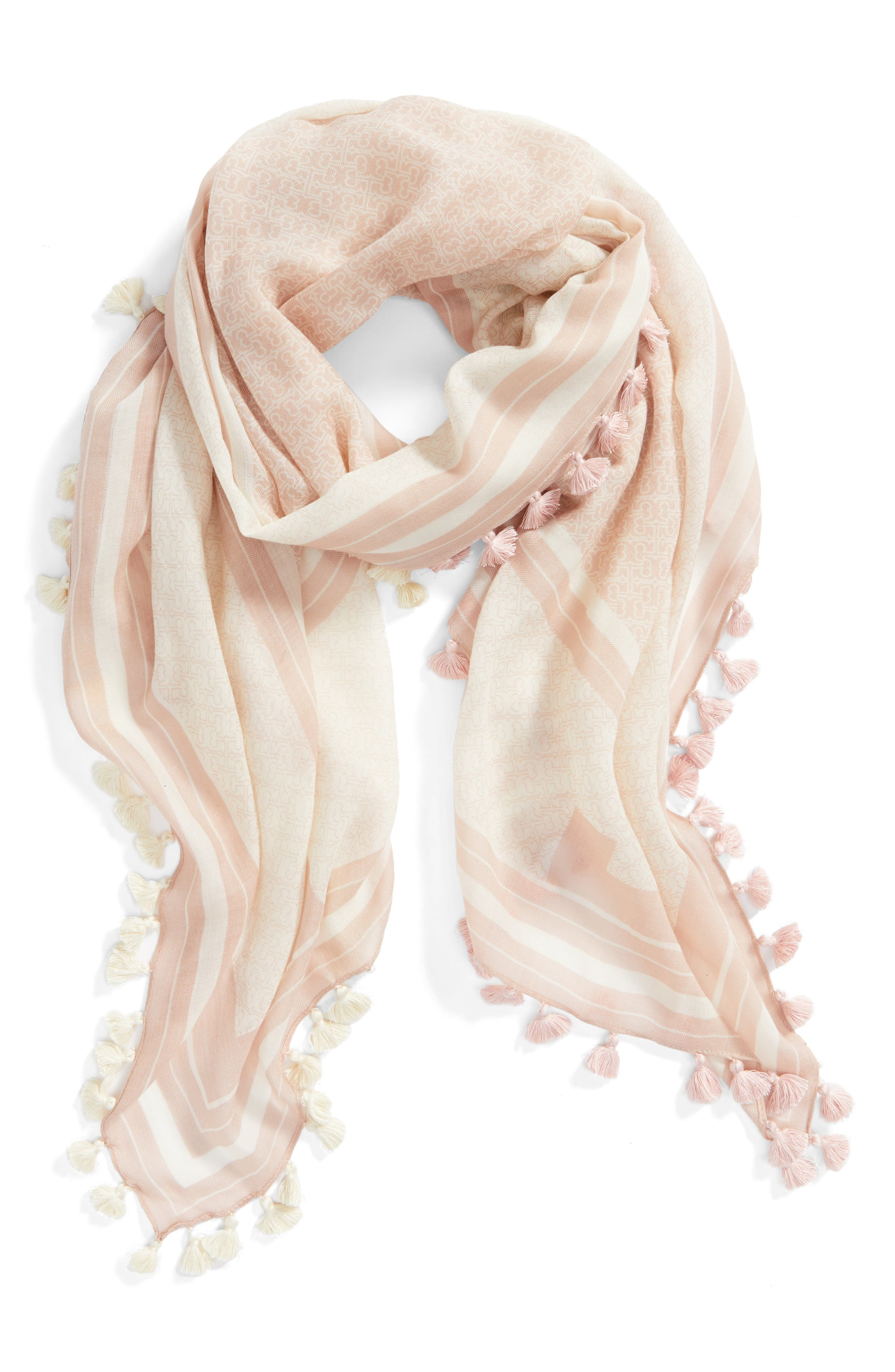 Logo Wool Scarf,                             Alternate thumbnail 4, color,                             Porcelain Pink