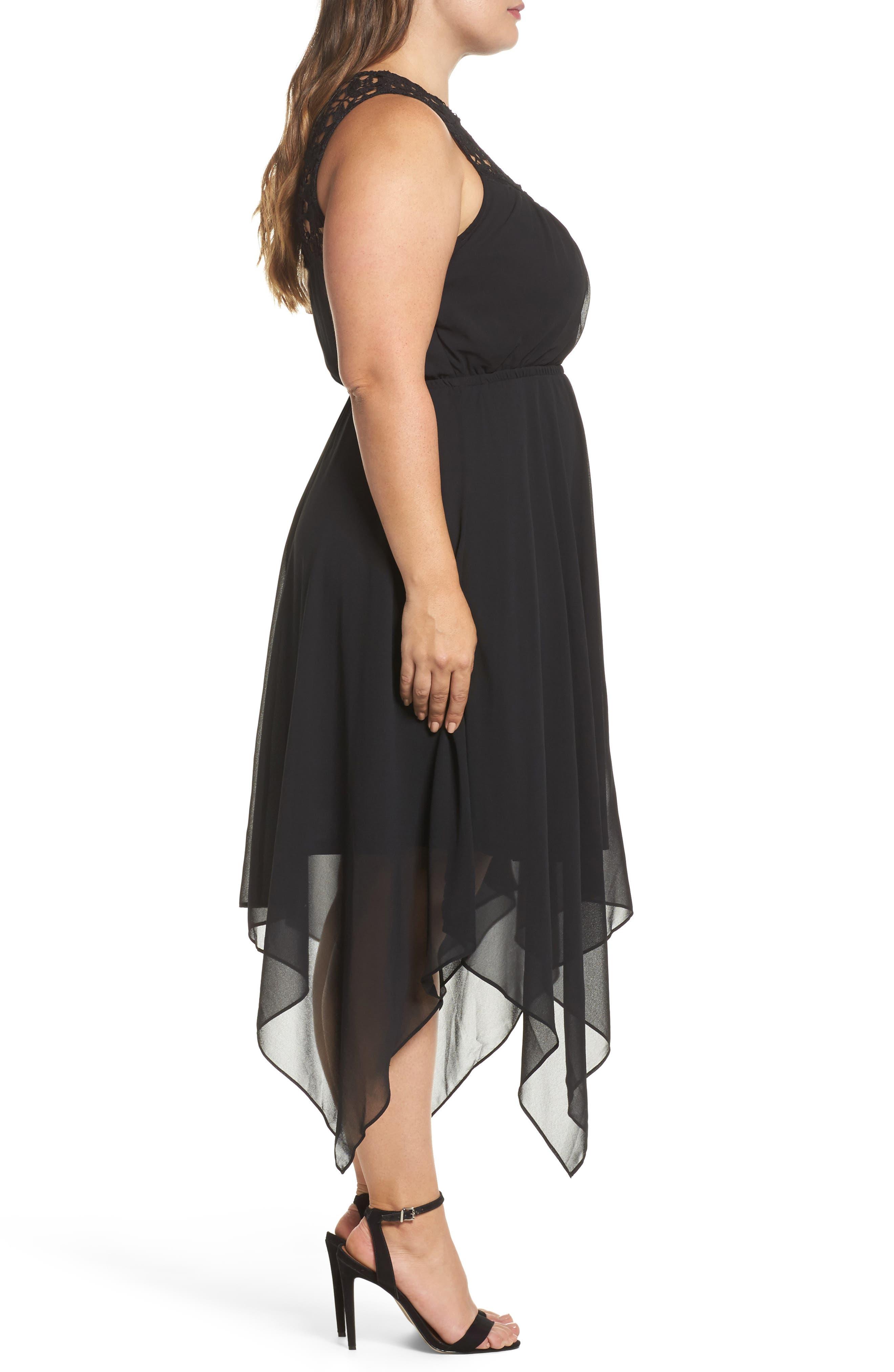 Handkerchief Hem Dress,                             Alternate thumbnail 3, color,                             Black