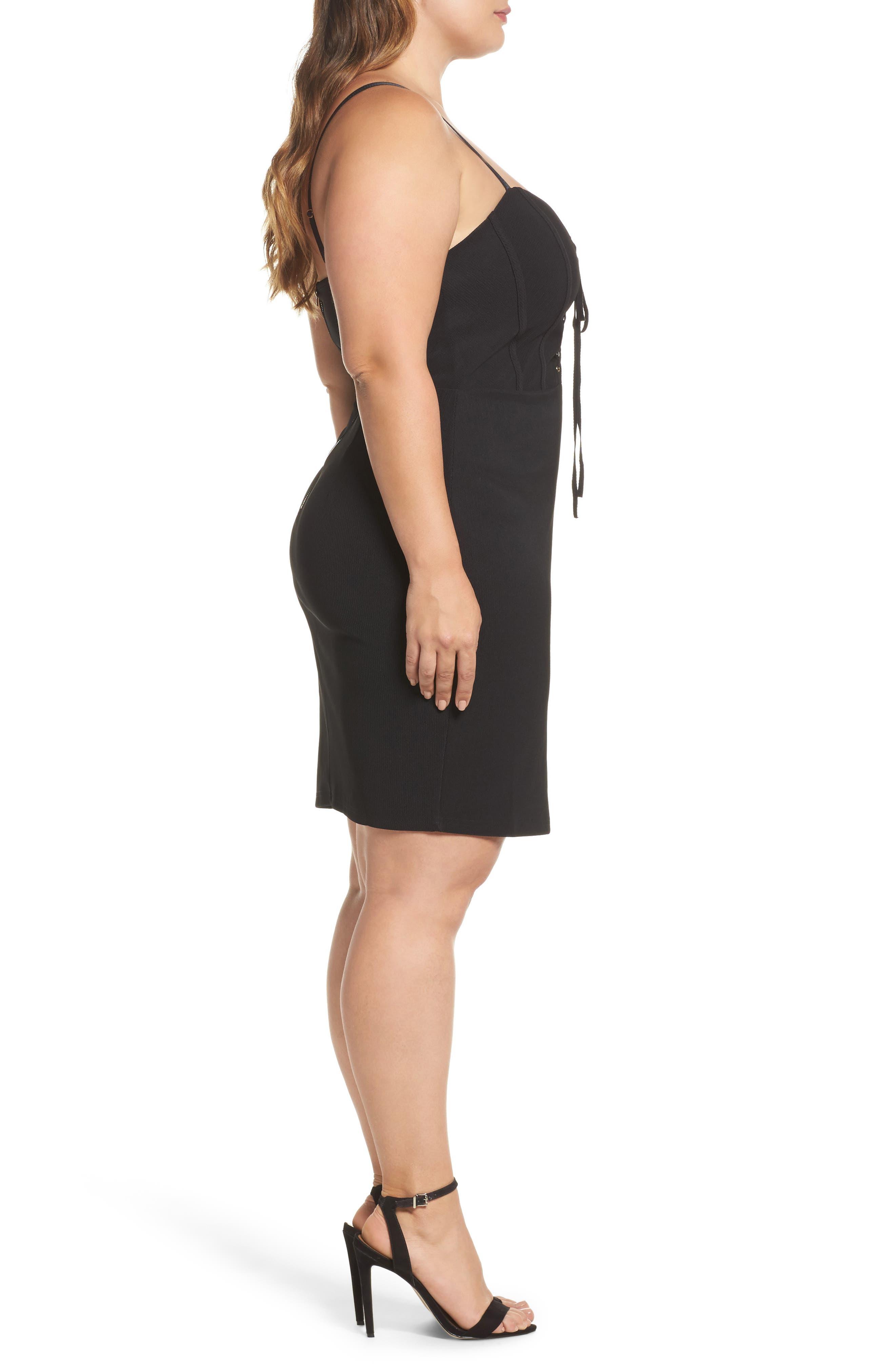 Corset Body-Con Dress,                             Alternate thumbnail 3, color,                             Black