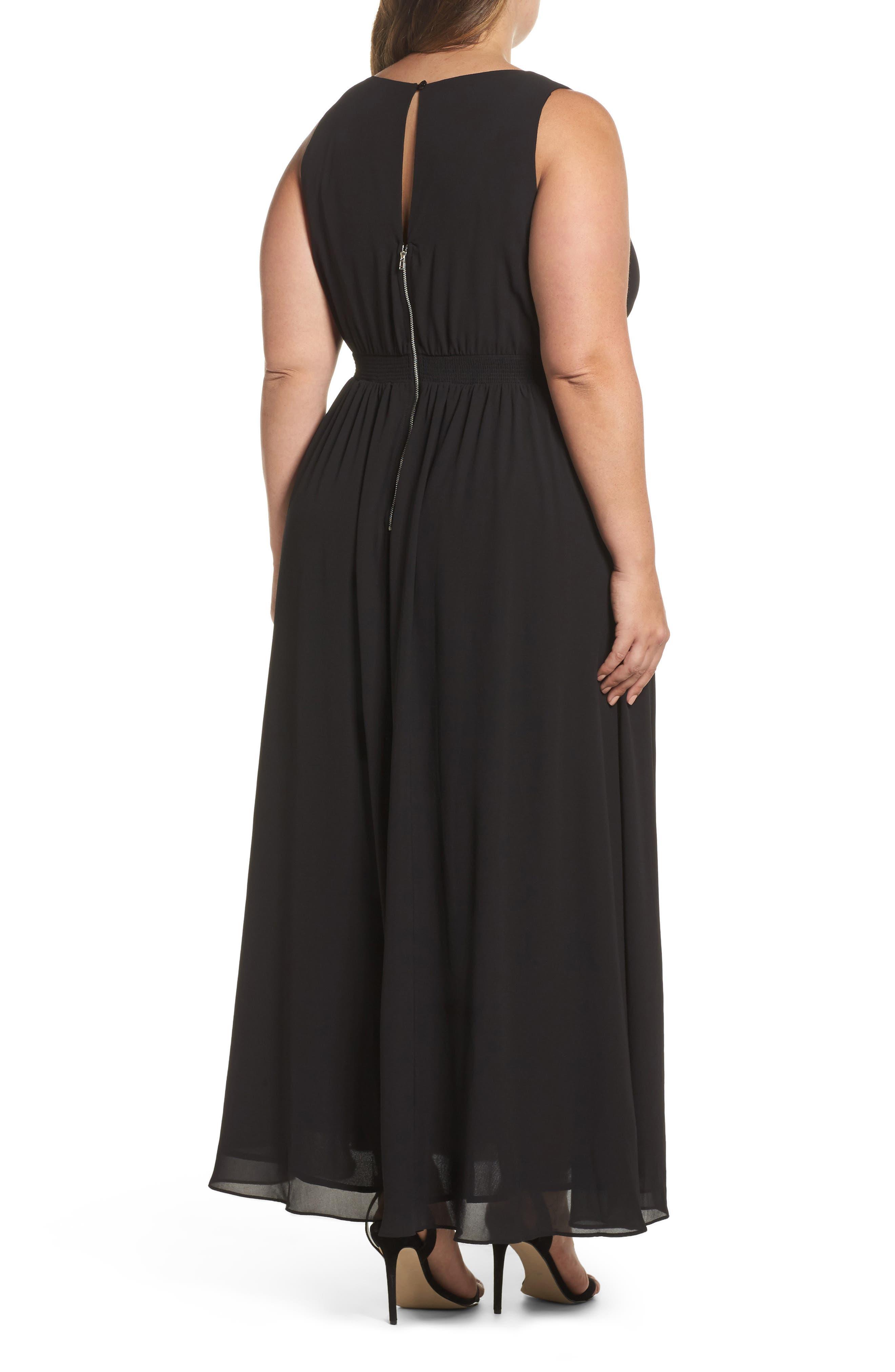Lace Inset Maxi Dress,                             Alternate thumbnail 2, color,                             Black