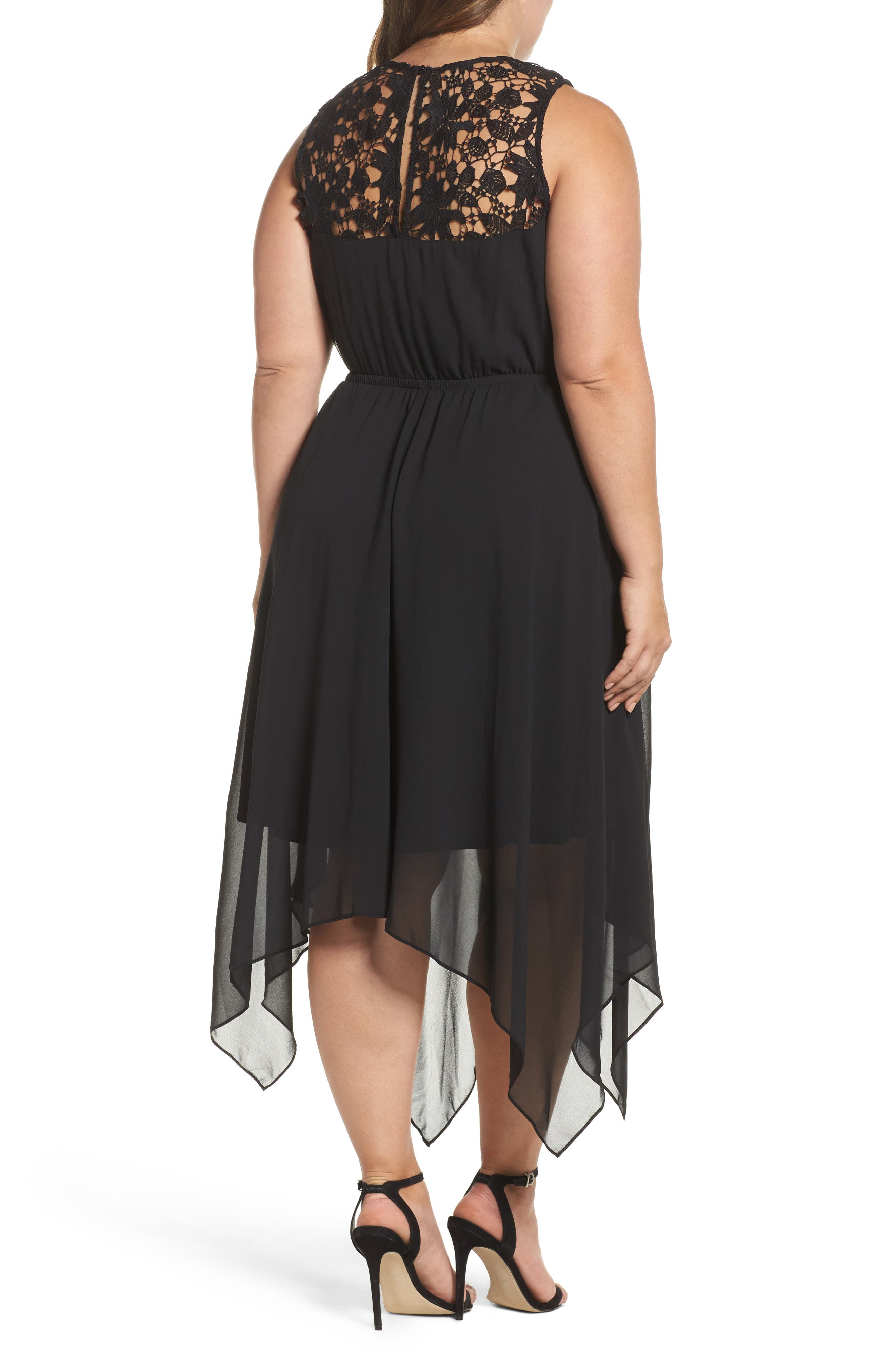 Handkerchief Hem Dress,                             Alternate thumbnail 2, color,                             Black