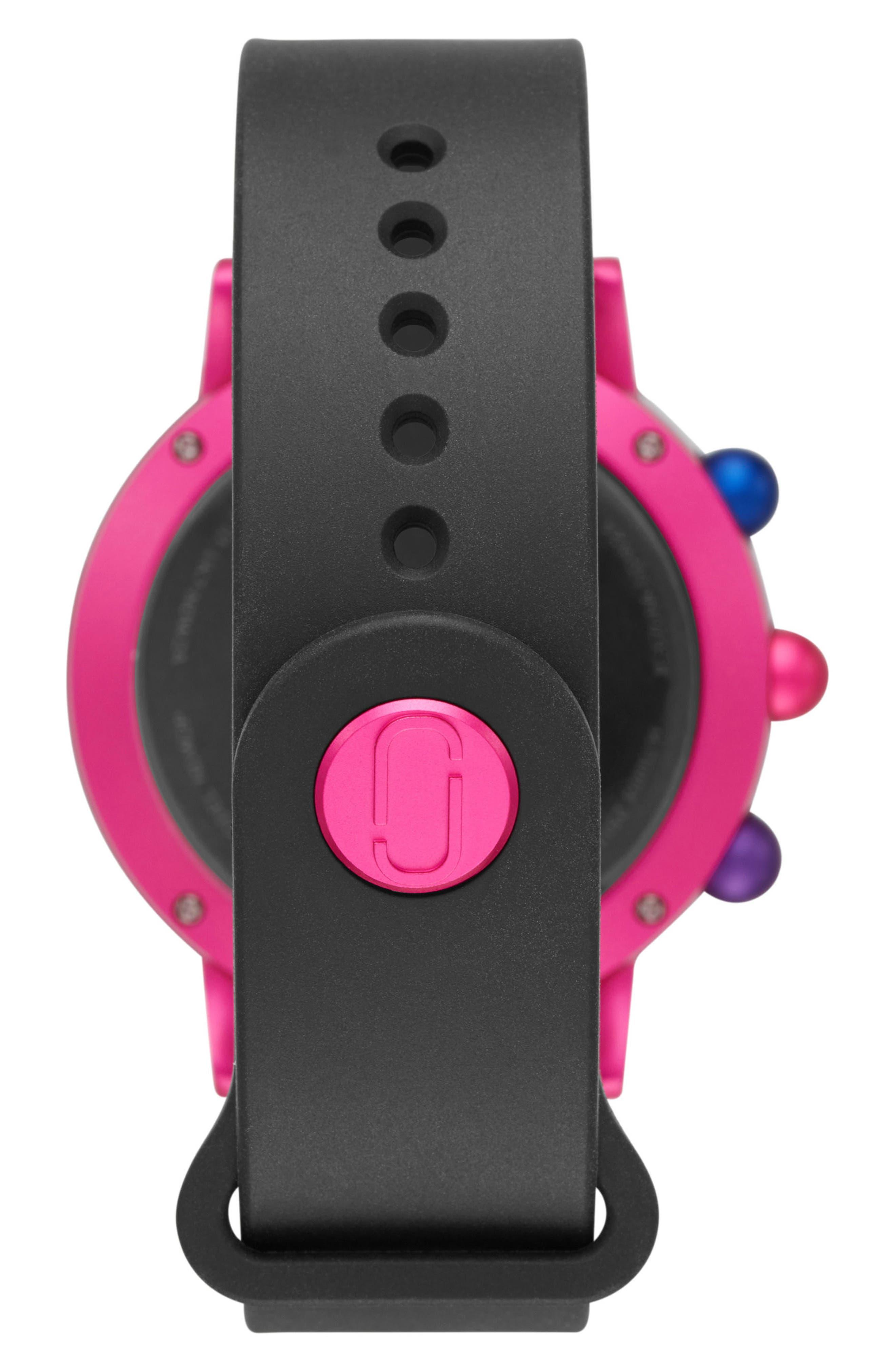 Riley Hybrid Rubber Strap Watch, 42mm,                             Alternate thumbnail 6, color,                             Black/ Pink