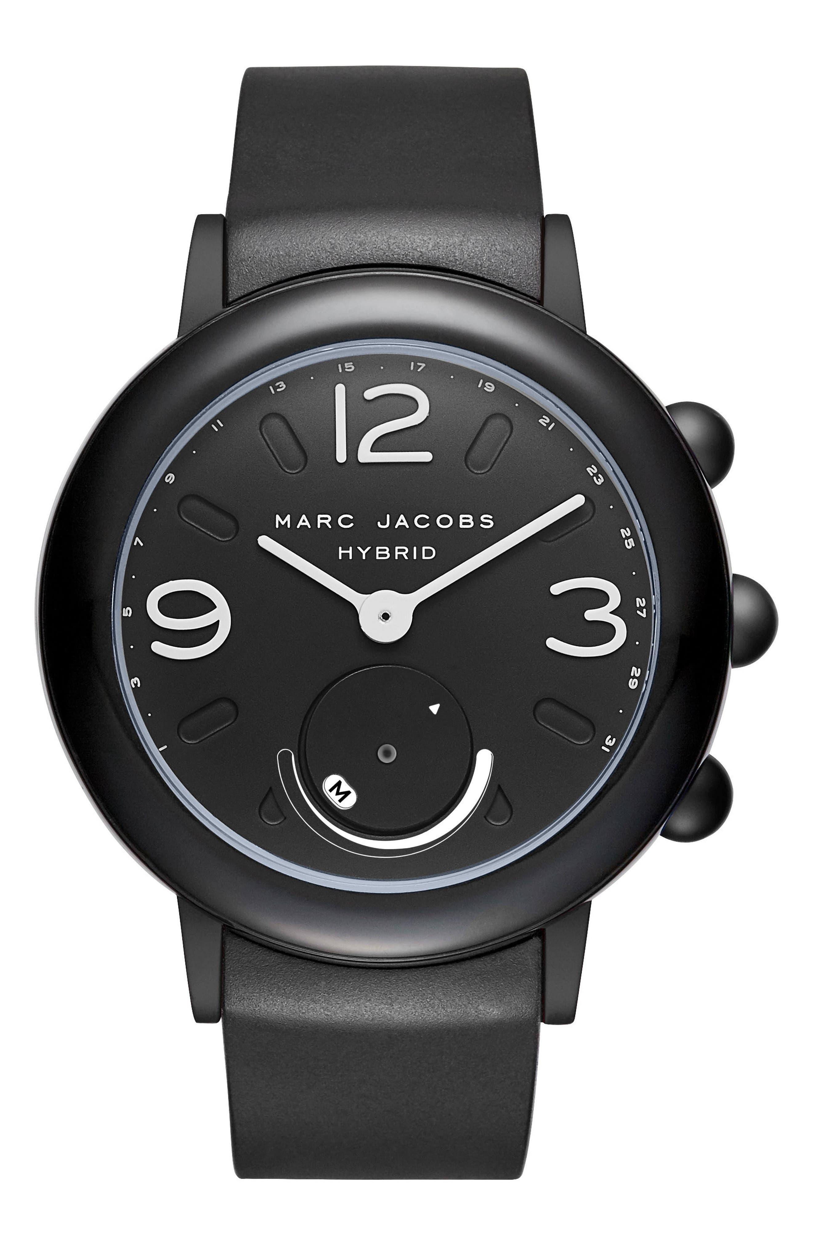 Riley Hybrid Rubber Strap Watch, 42mm,                             Main thumbnail 1, color,                             Black