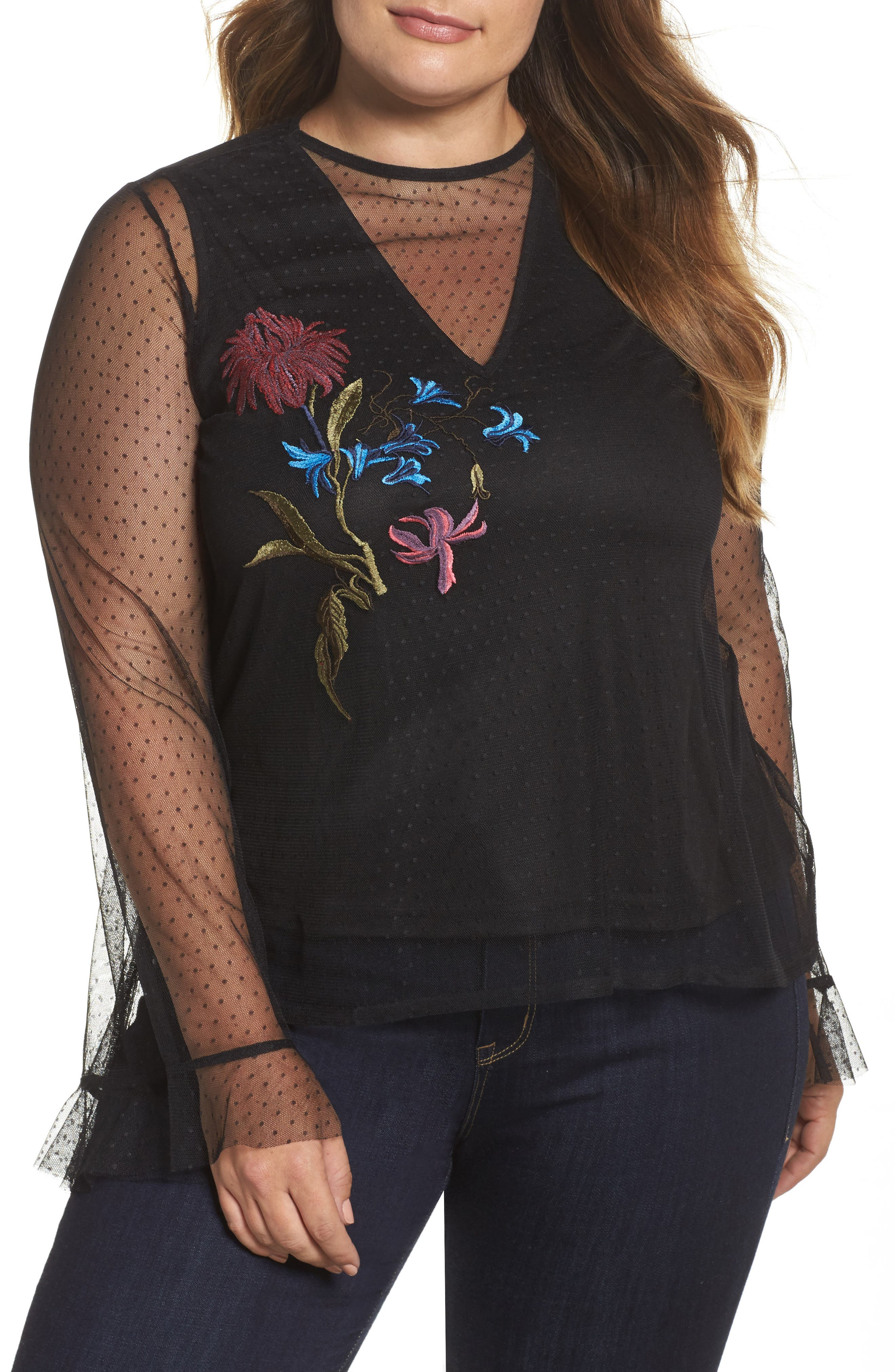 Alternate Image 1 Selected - LOST INK Embroidered Swing Top (Plus Size)