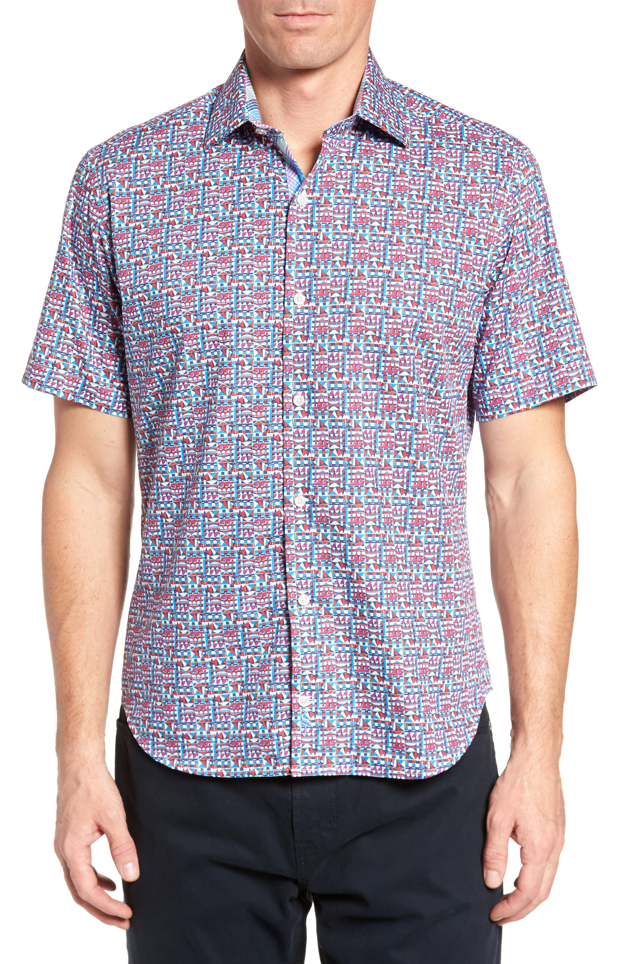Maurice Print Sport Shirt,                         Main,                         color, Coral