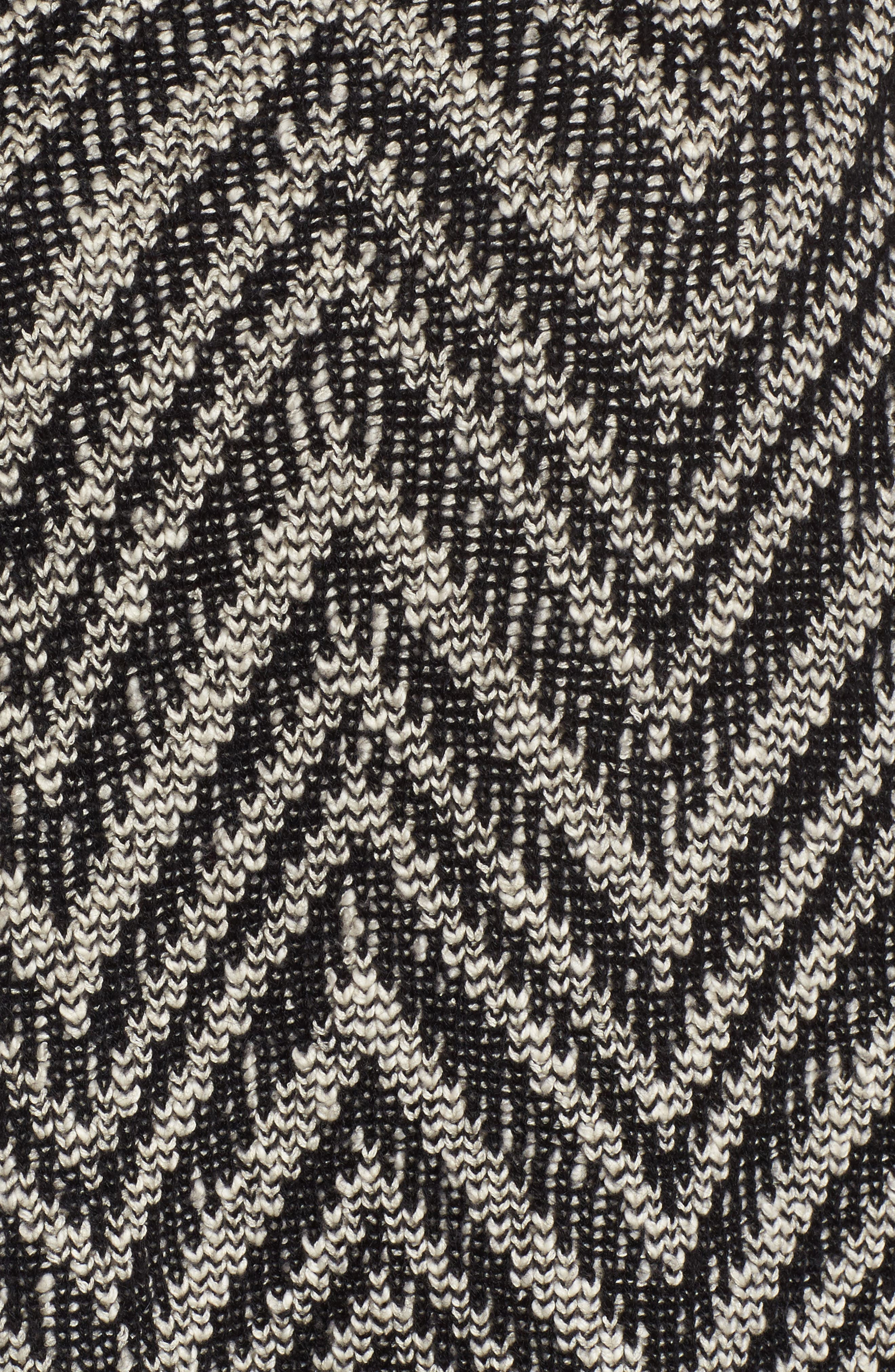 Zigzag Organic Cotton & Alpaca Tunic Sweater,                             Alternate thumbnail 5, color,                             Black/ Soft White