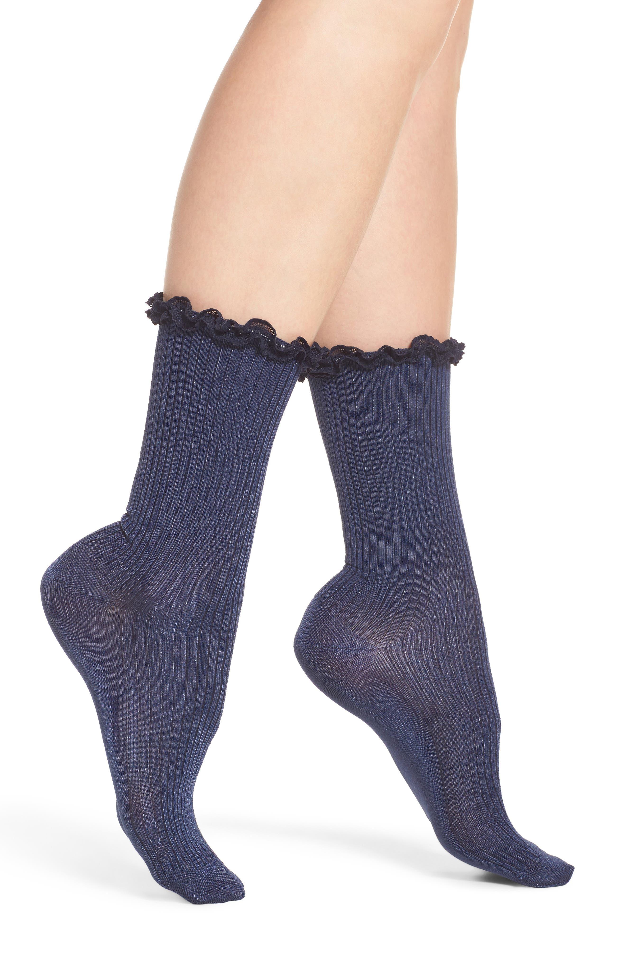 Lace Trim Luster Rib Crew Socks,                             Main thumbnail 1, color,                             Navy