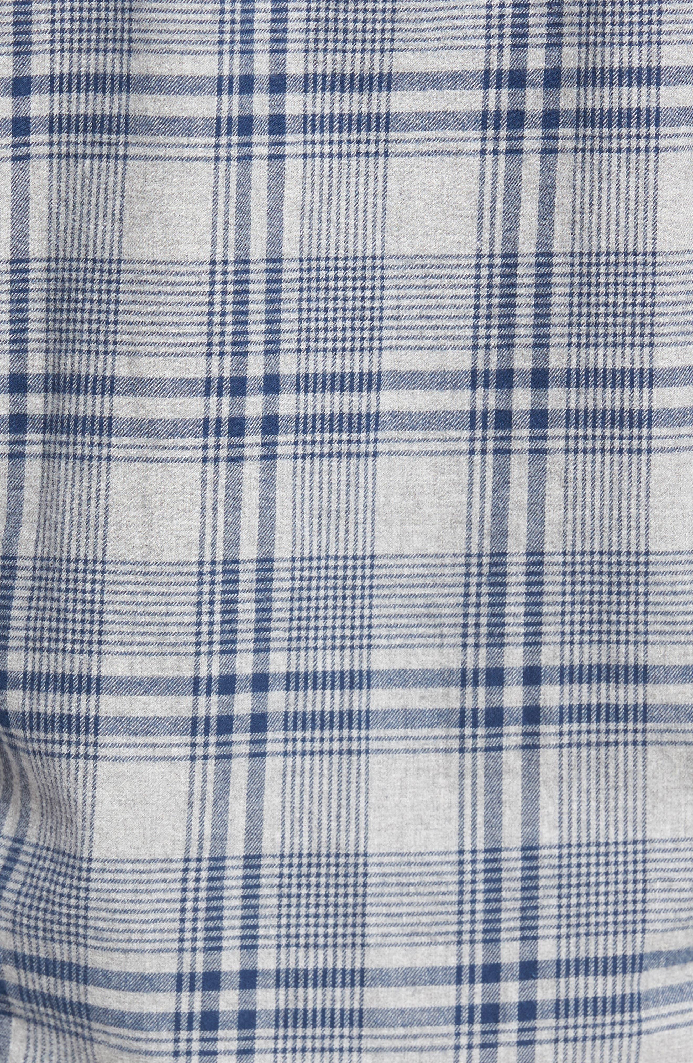 Slim Fit Brushed Plaid Sport Shirt,                             Alternate thumbnail 5, color,                             Rivercrest Plaid Navy
