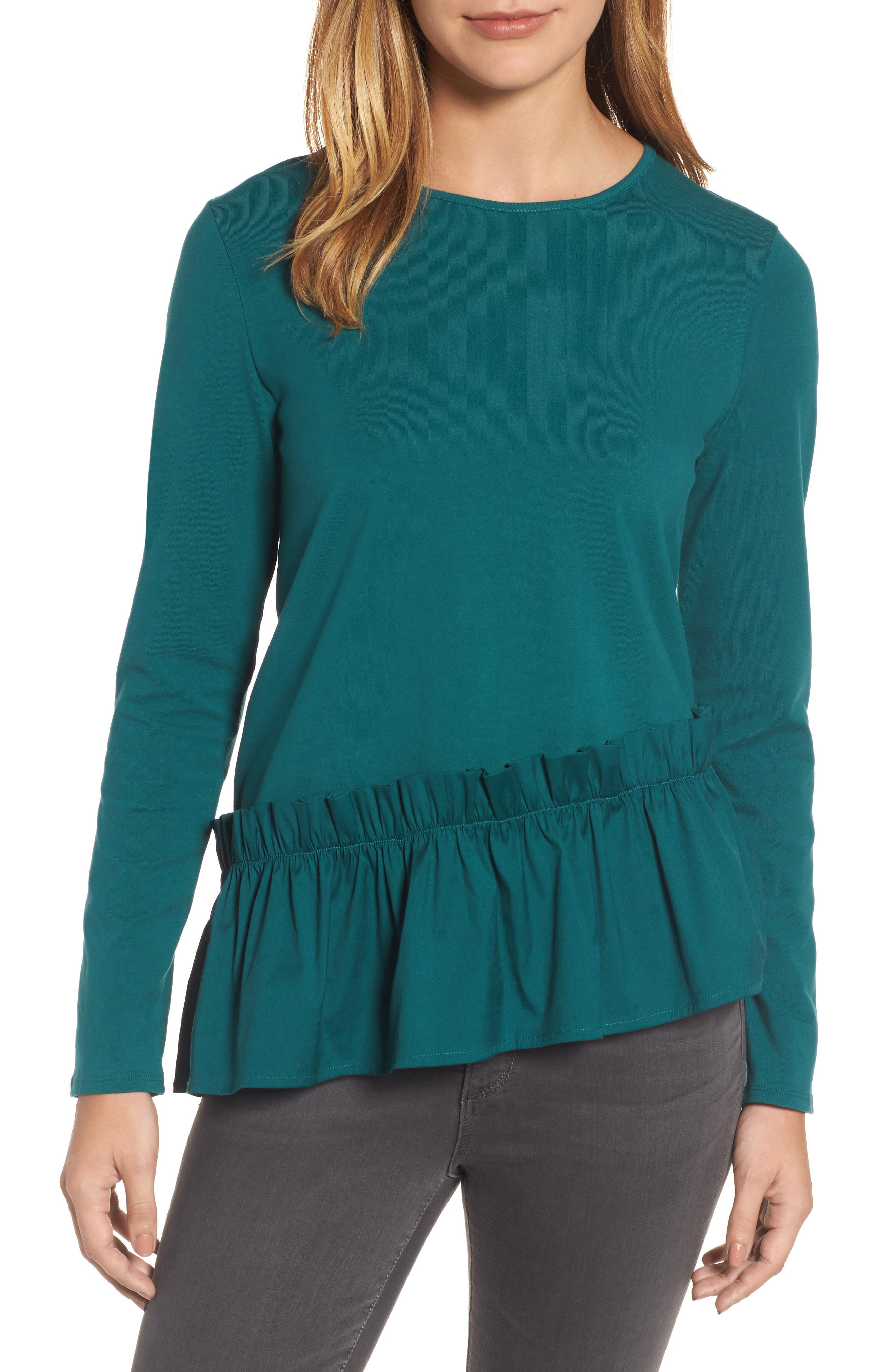 Ruffle Hem Tee,                         Main,                         color, Teal Deep
