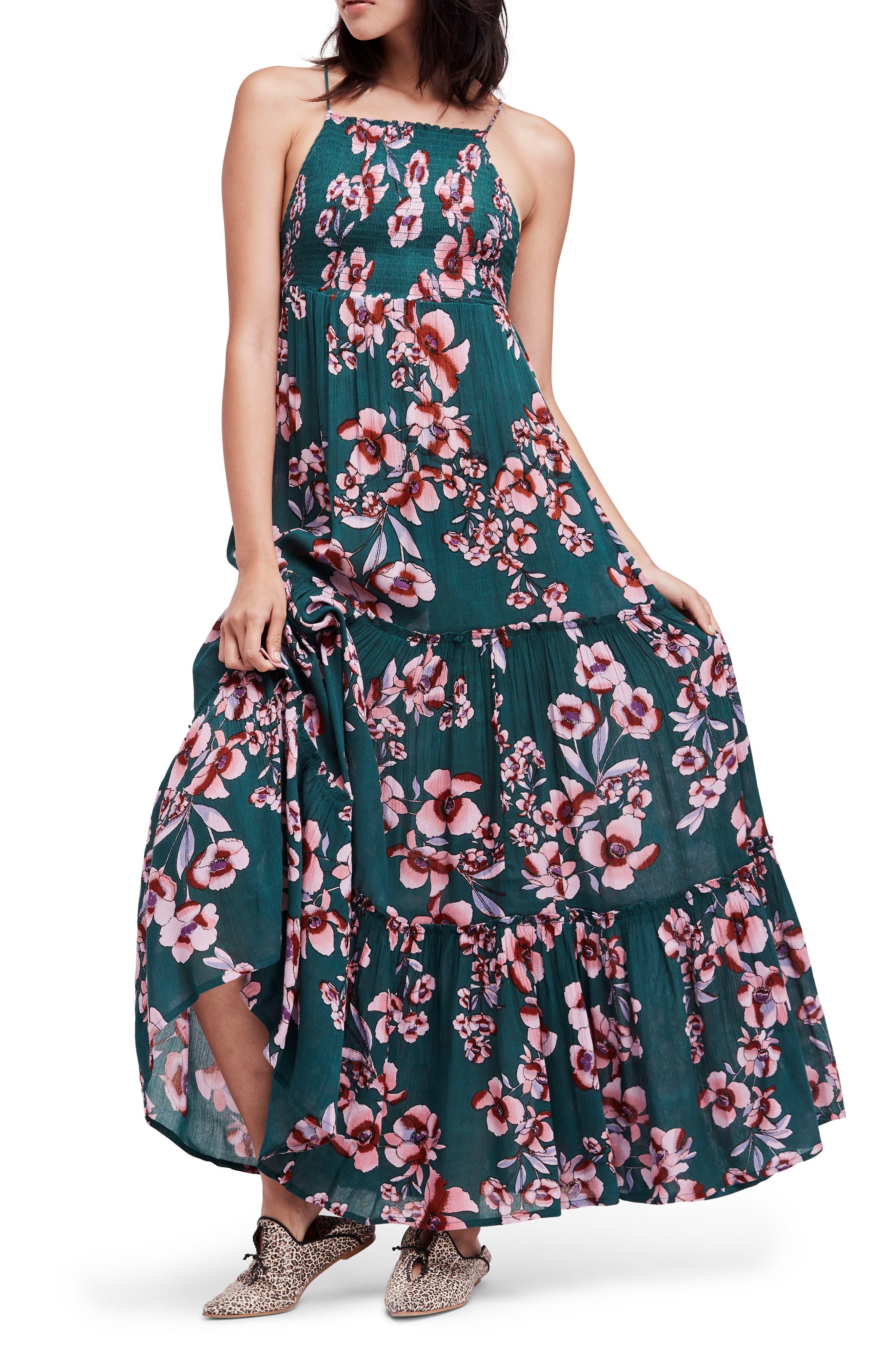 Garden Party Maxi Dress,                             Main thumbnail 1, color,                             Turquoise