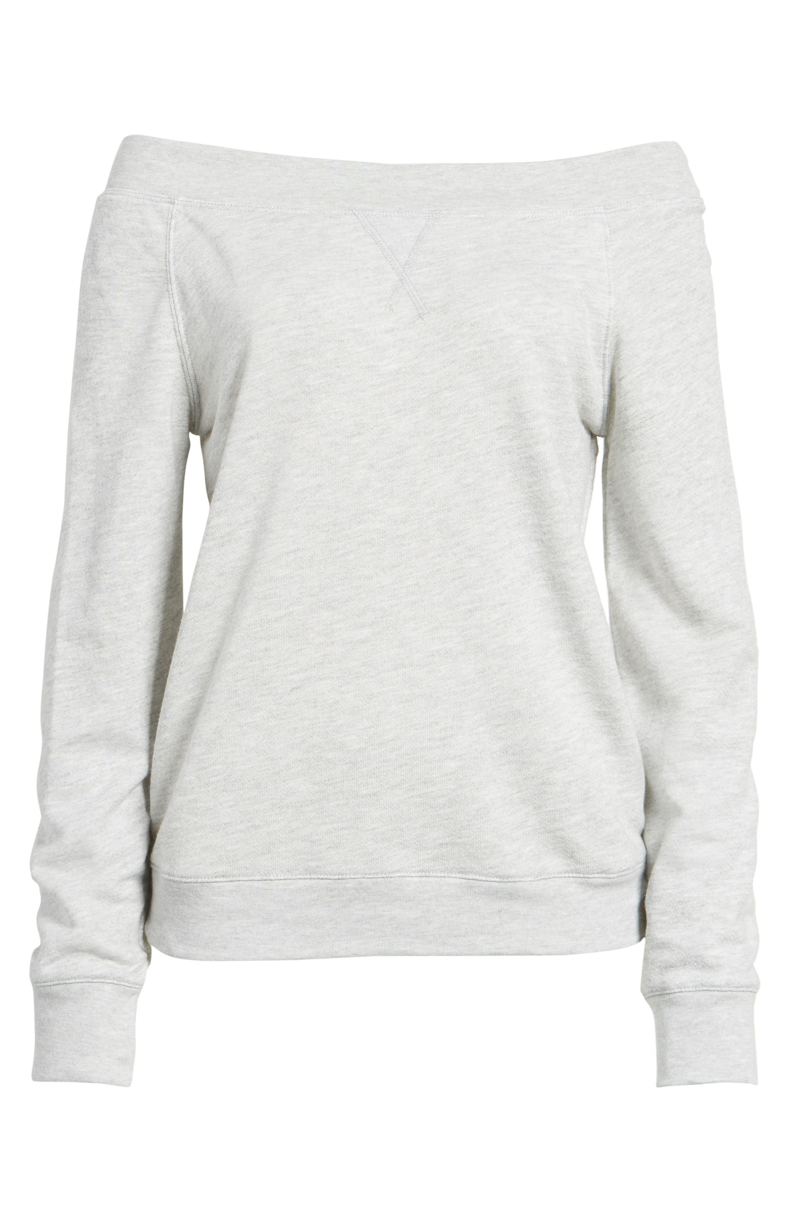 Off the Shoulder Sweatshirt,                             Alternate thumbnail 6, color,                             Grey Heather