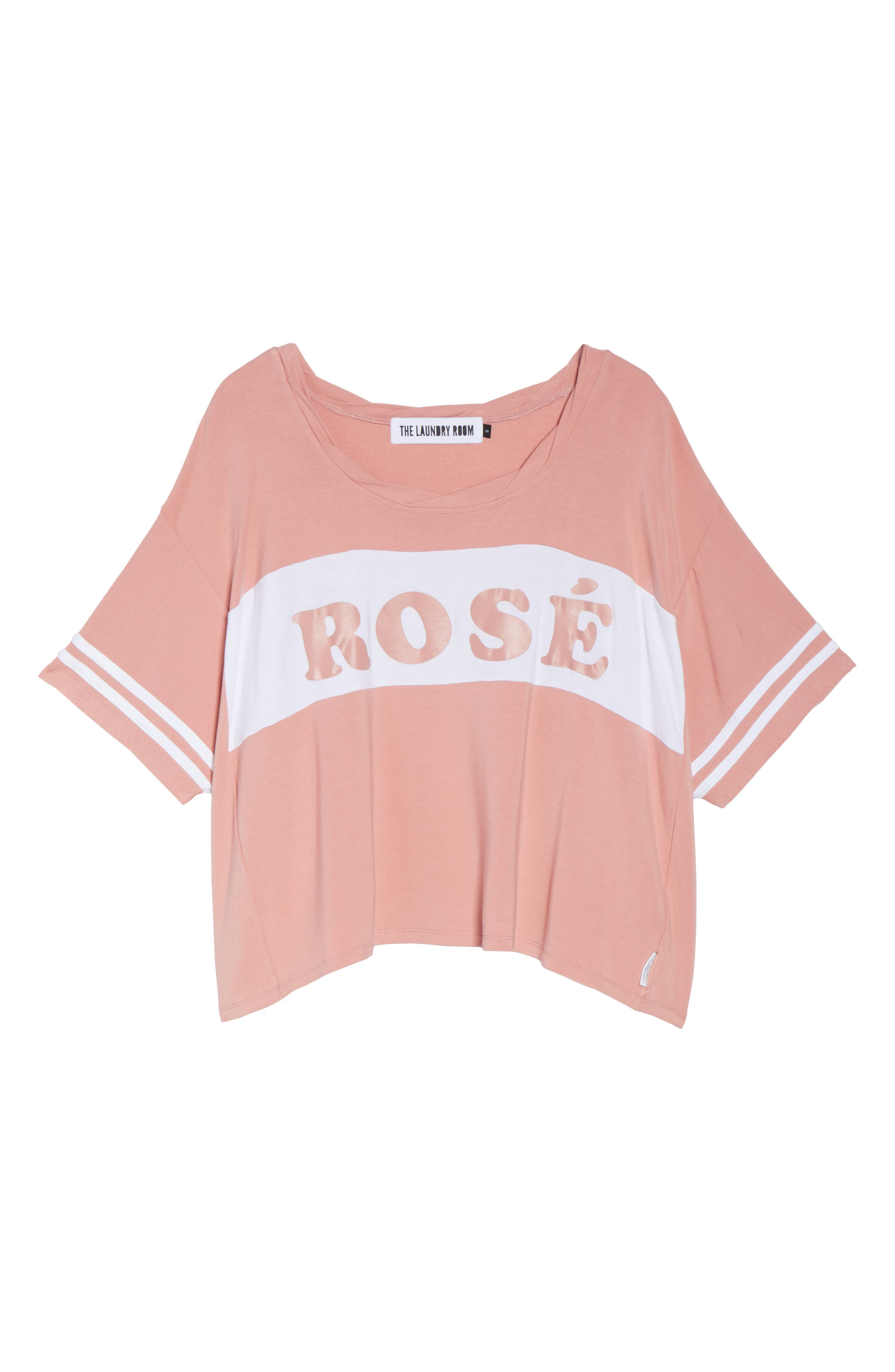 Team Rosé Baggy Tee,                             Alternate thumbnail 4, color,                             White / Champagne