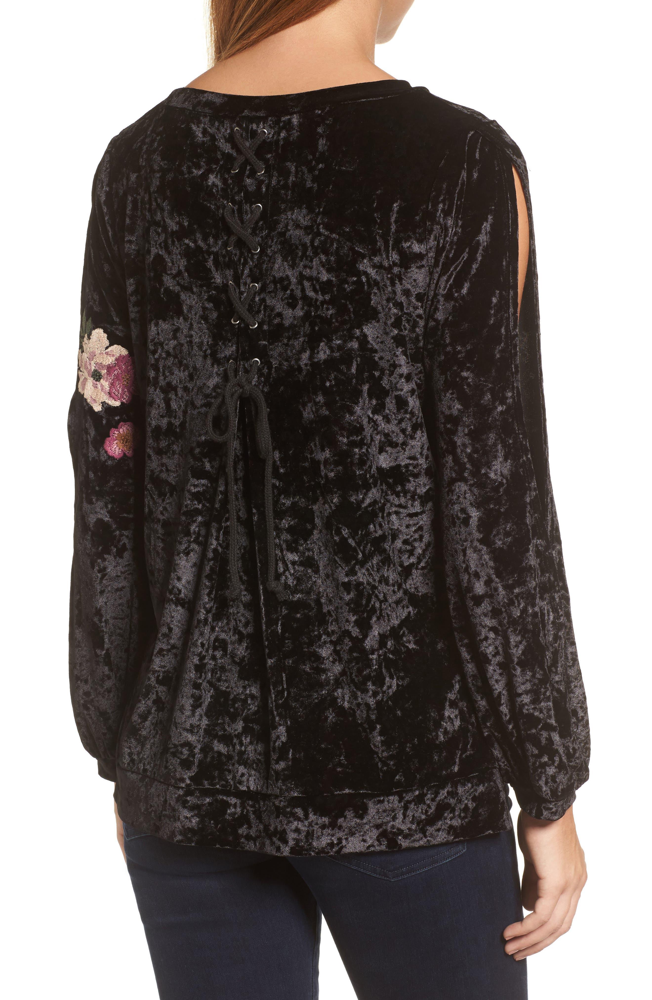 Split Sleeve Embroidered Top,                             Alternate thumbnail 2, color,                             Black