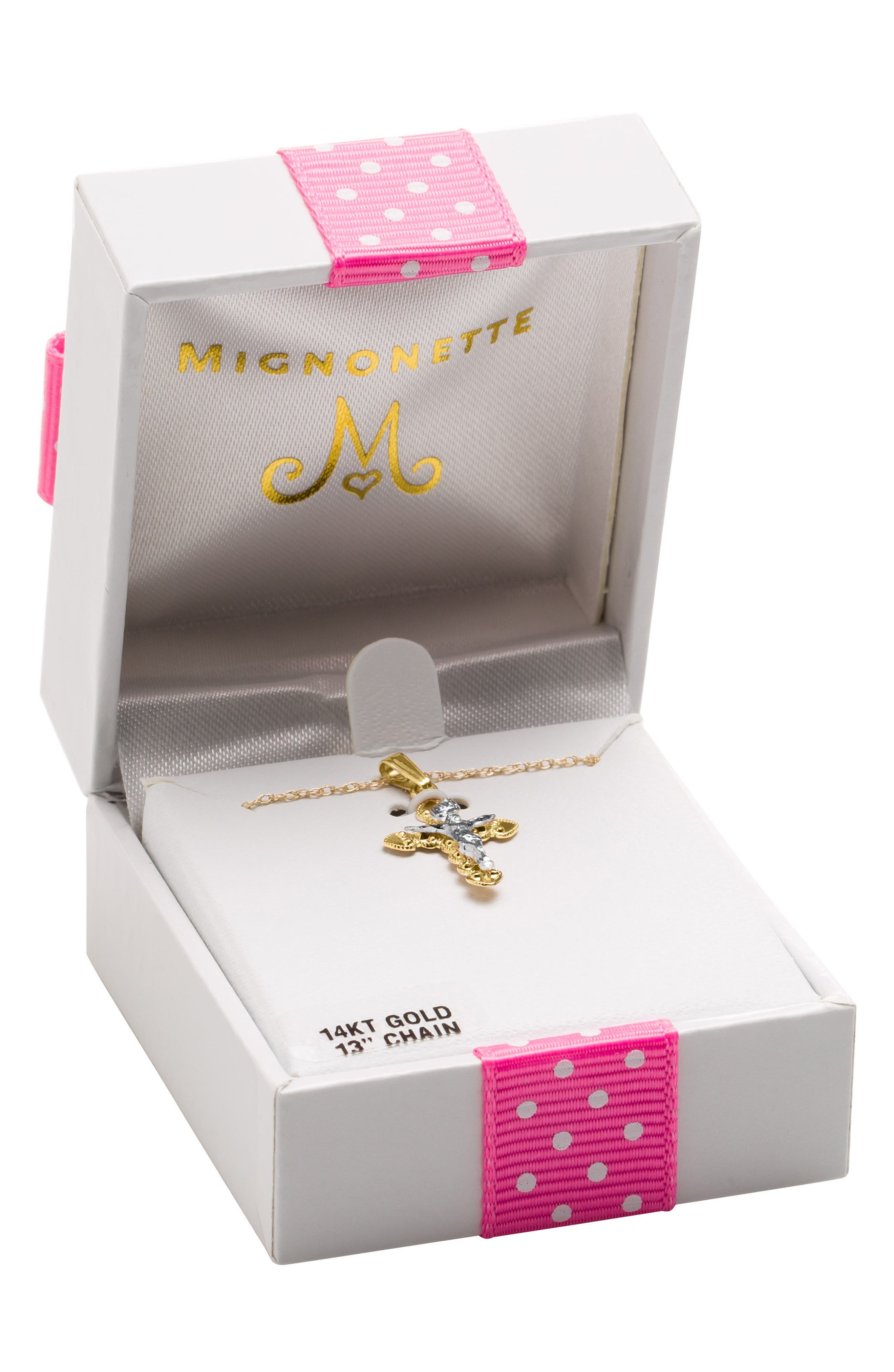 Alternate Image 2  - Mignonette 14k Gold Crucifix Necklace