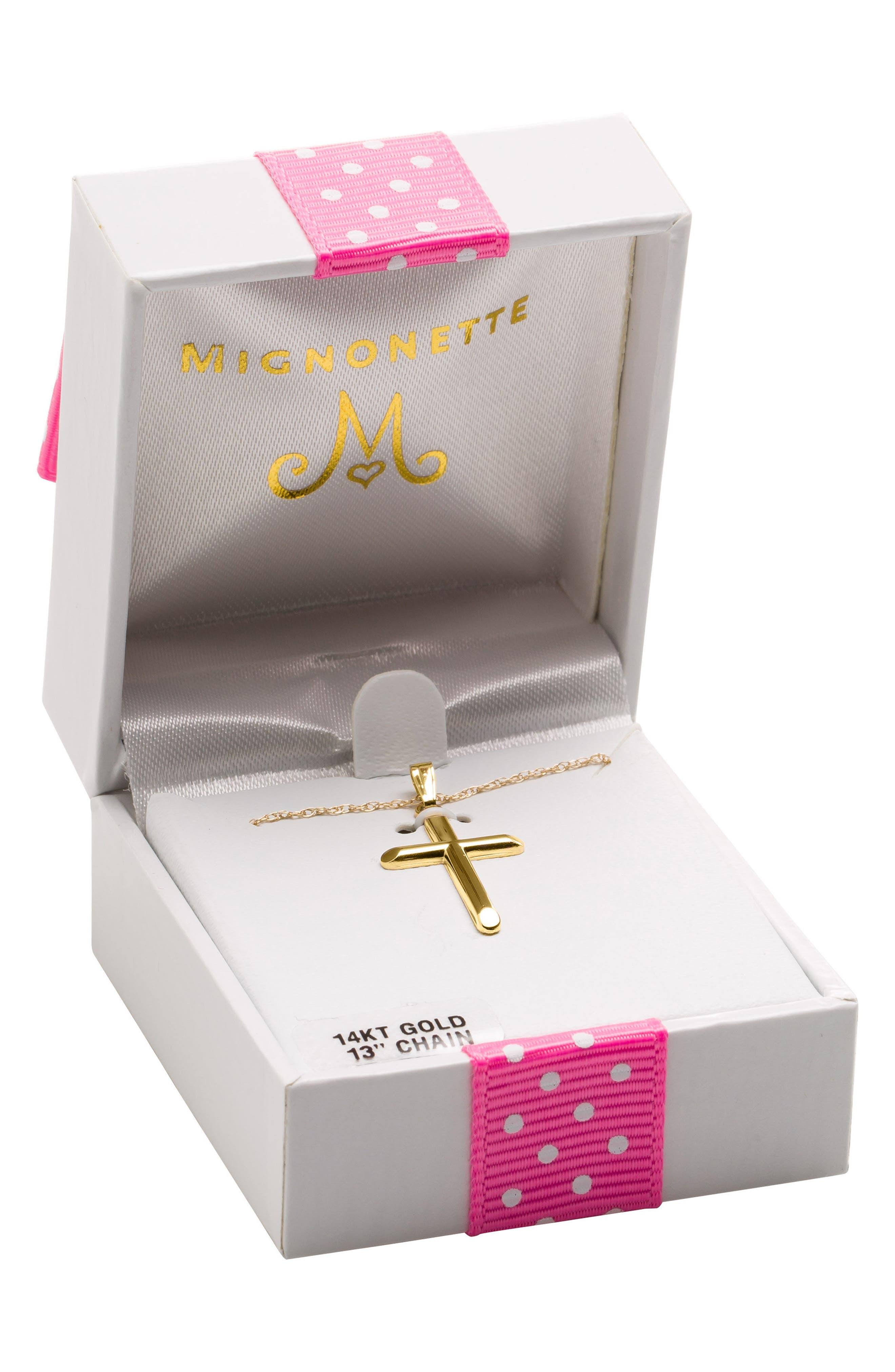 Mignonnete 14k Gold Cross Necklace,                             Alternate thumbnail 2, color,                             Gold