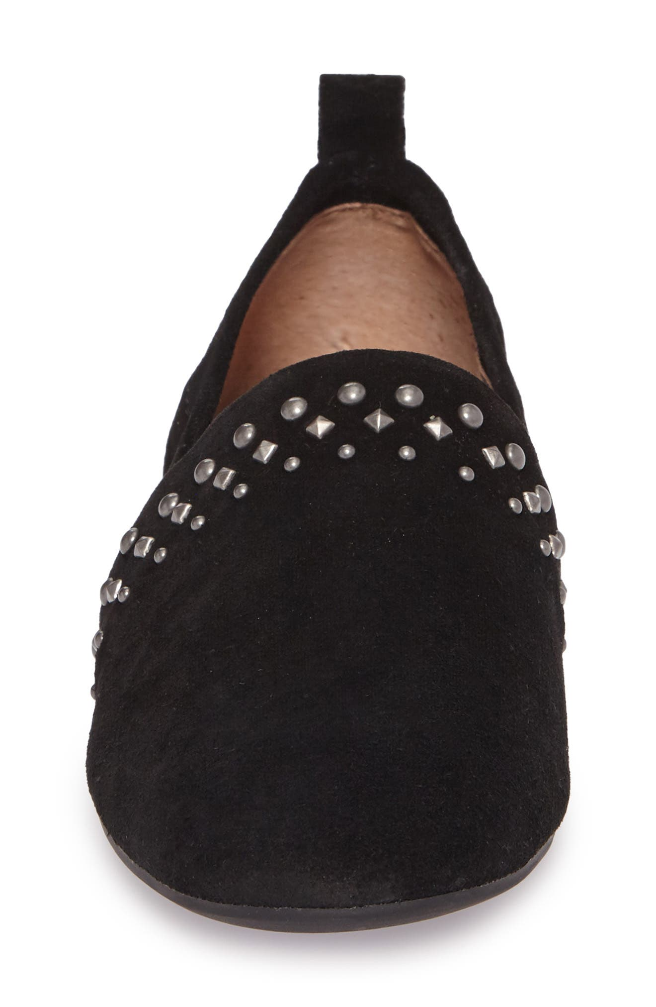 Baako Studded Flat,                             Alternate thumbnail 4, color,                             Black Suede