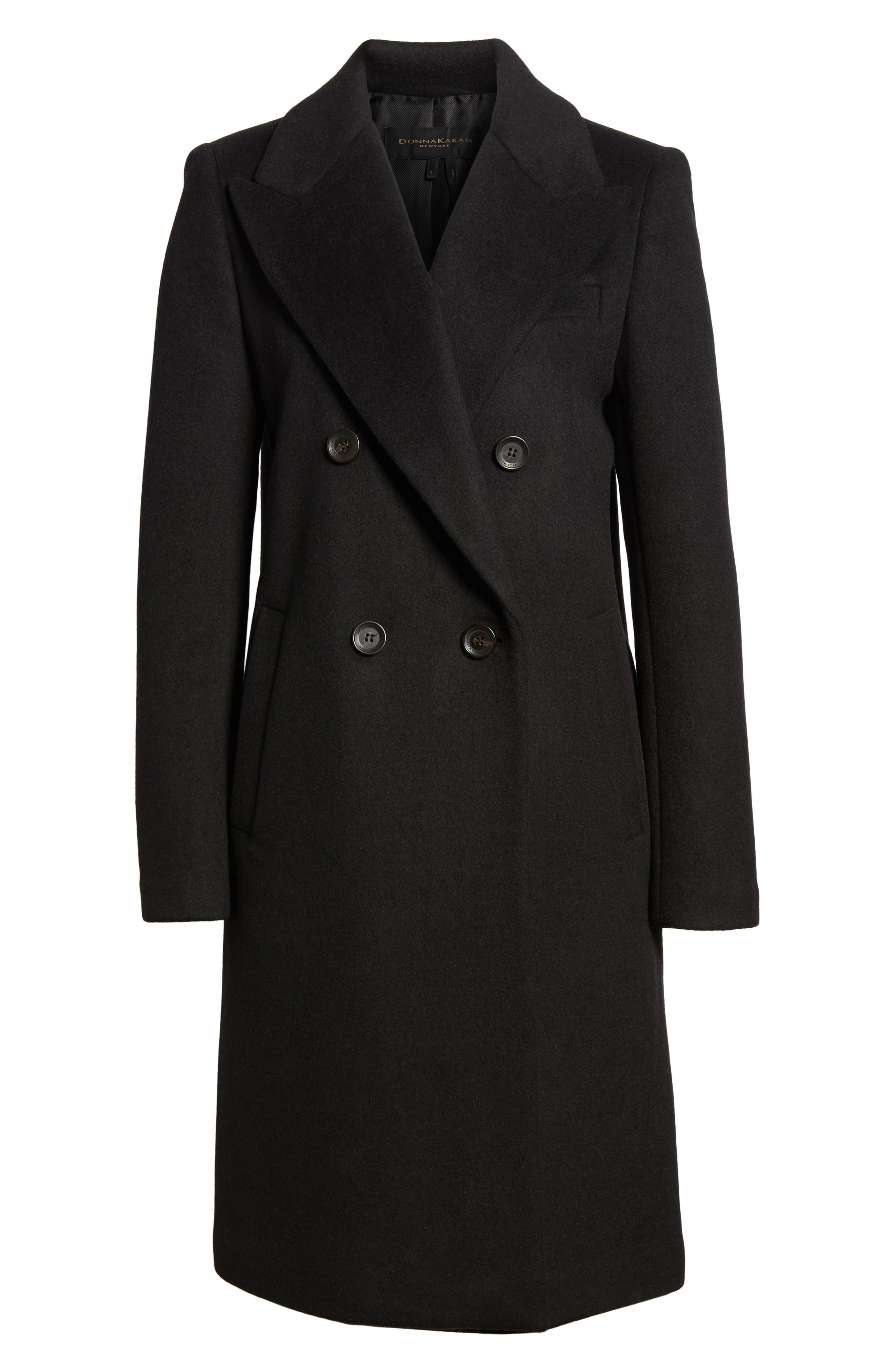 DKNY Lavish Wool Blend Coat,                             Alternate thumbnail 6, color,                             Black