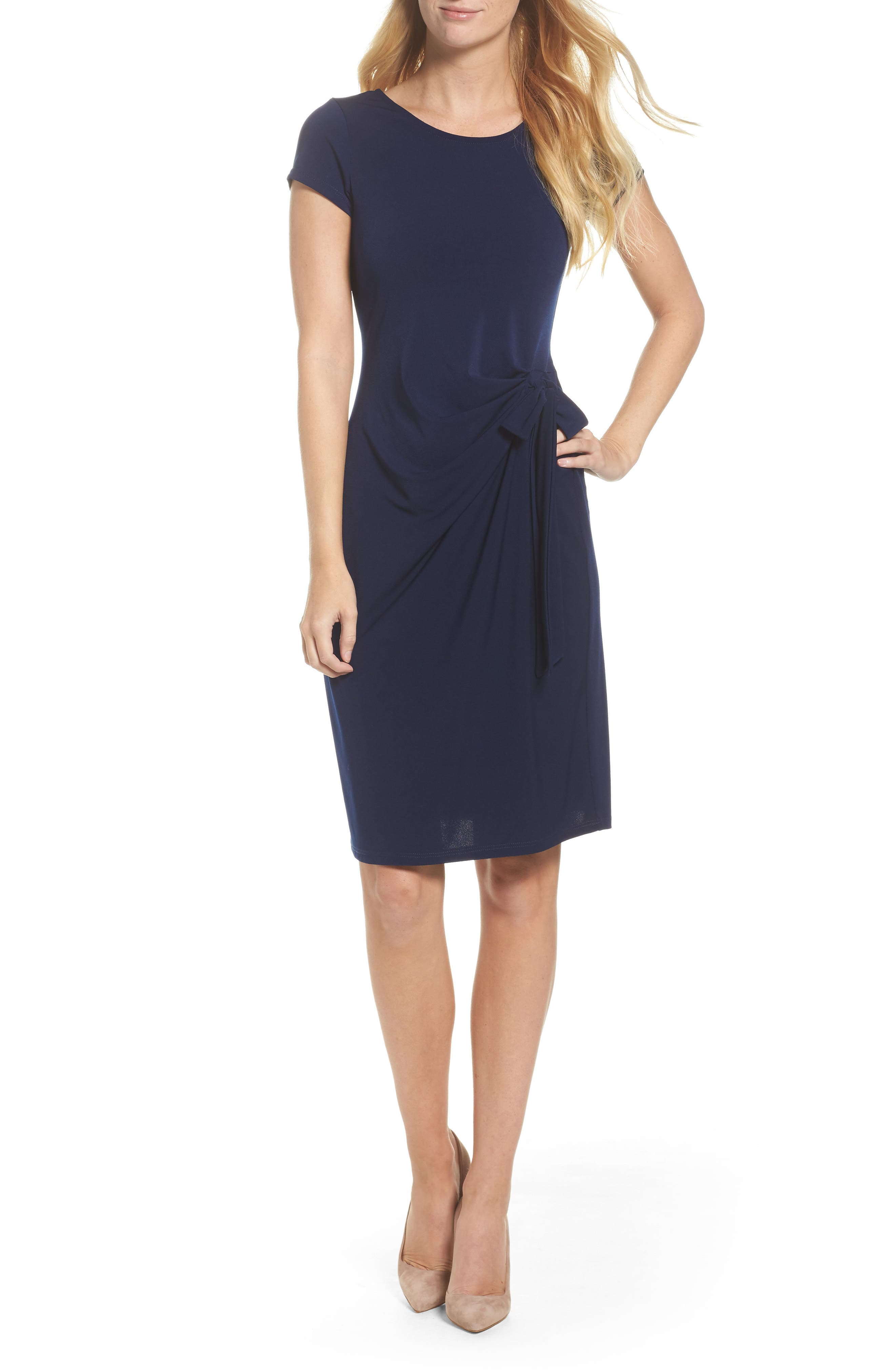 Madison Stretch Sheath Dress,                             Main thumbnail 1, color,                             Classic Navy