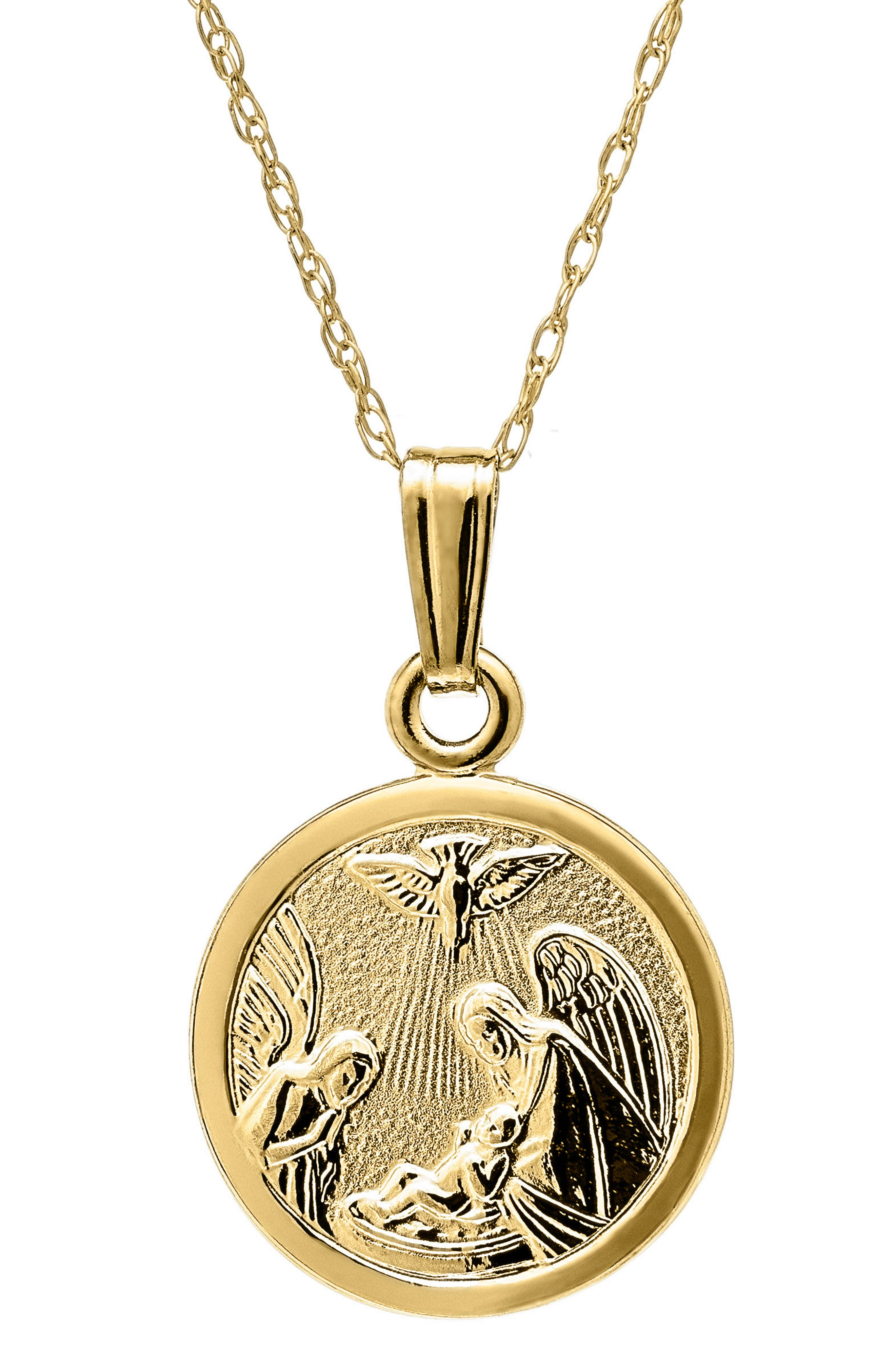 14k Gold Guardian Angel Pendant Necklace,                         Main,                         color, Gold