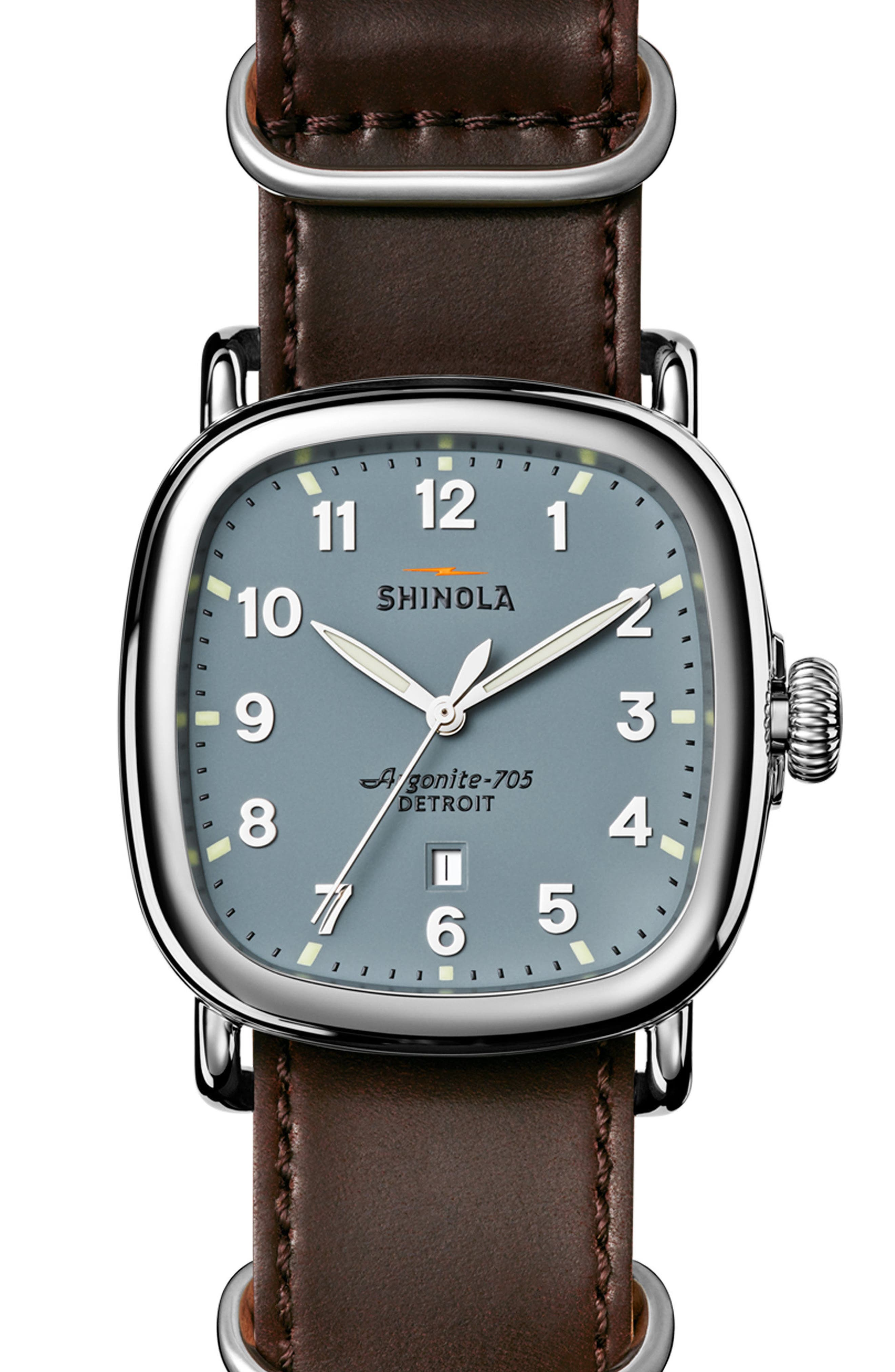 Alternate Image 1 Selected - Shinola The Guardian Leather Strap Watch, 41.5mm x 43mm