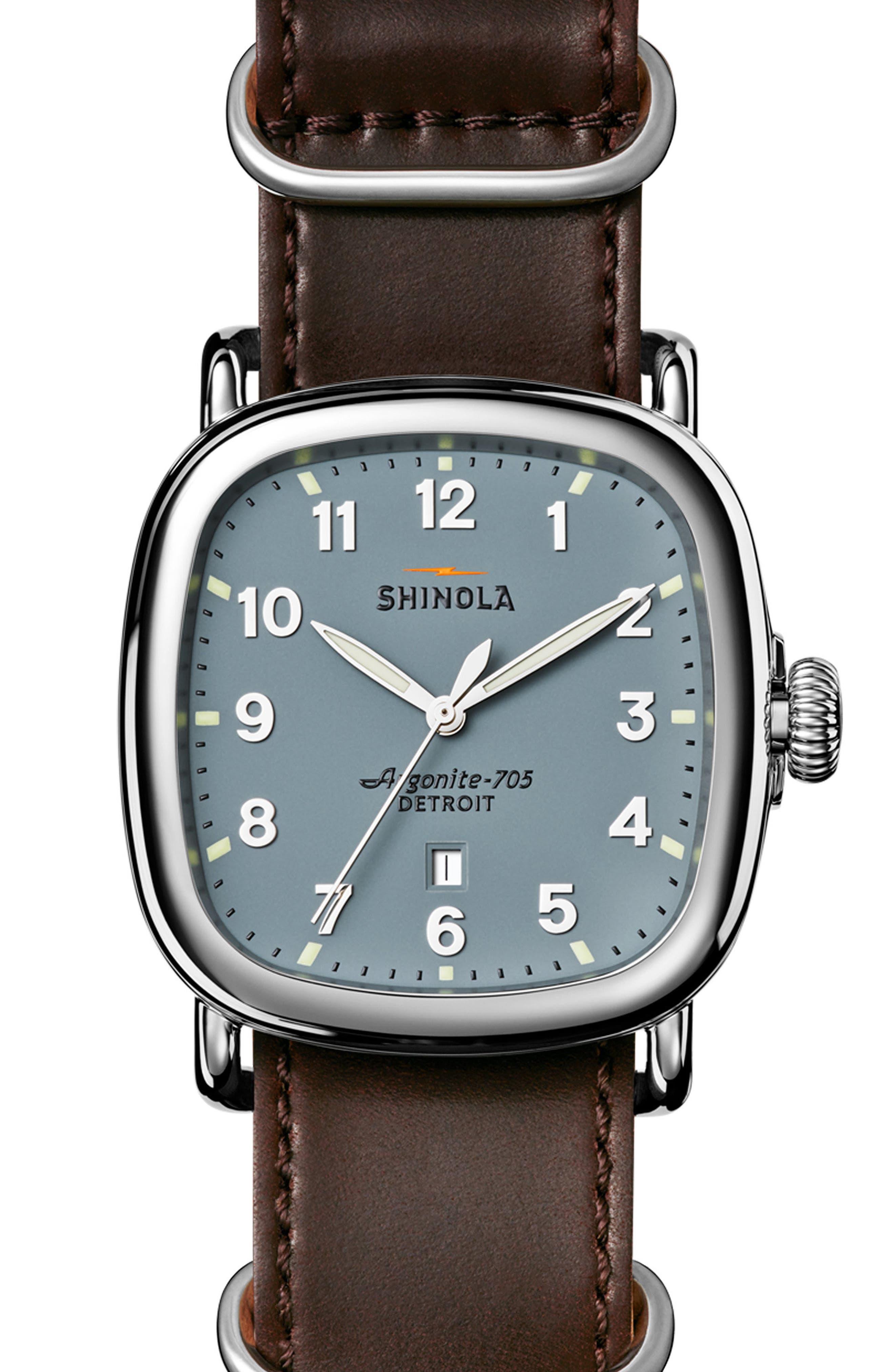 Main Image - Shinola The Guardian Leather Strap Watch, 41.5mm x 43mm