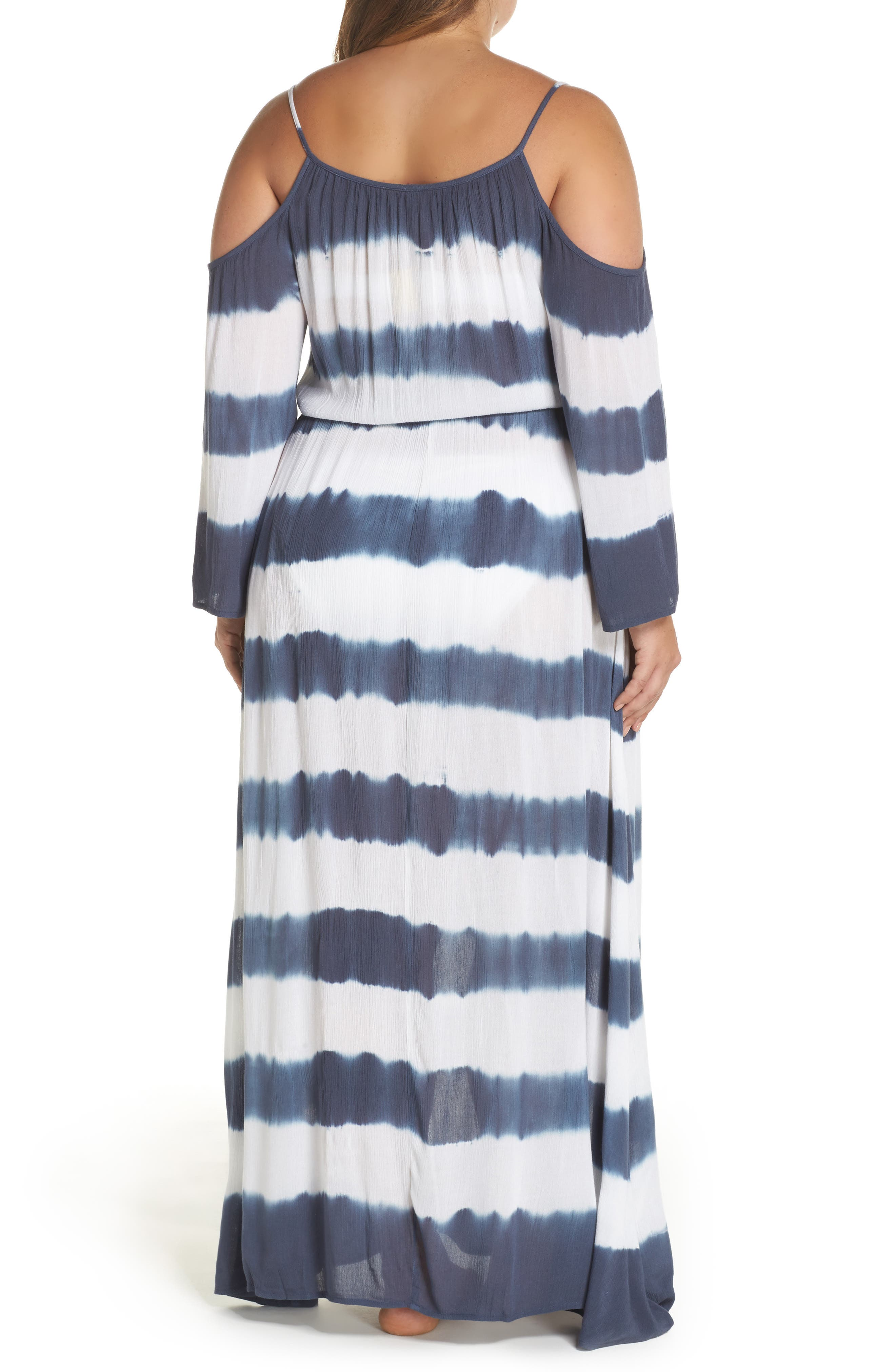 Cold Shoulder Cover-Up Maxi Dress,                             Alternate thumbnail 2, color,                             Td Indigo/ White
