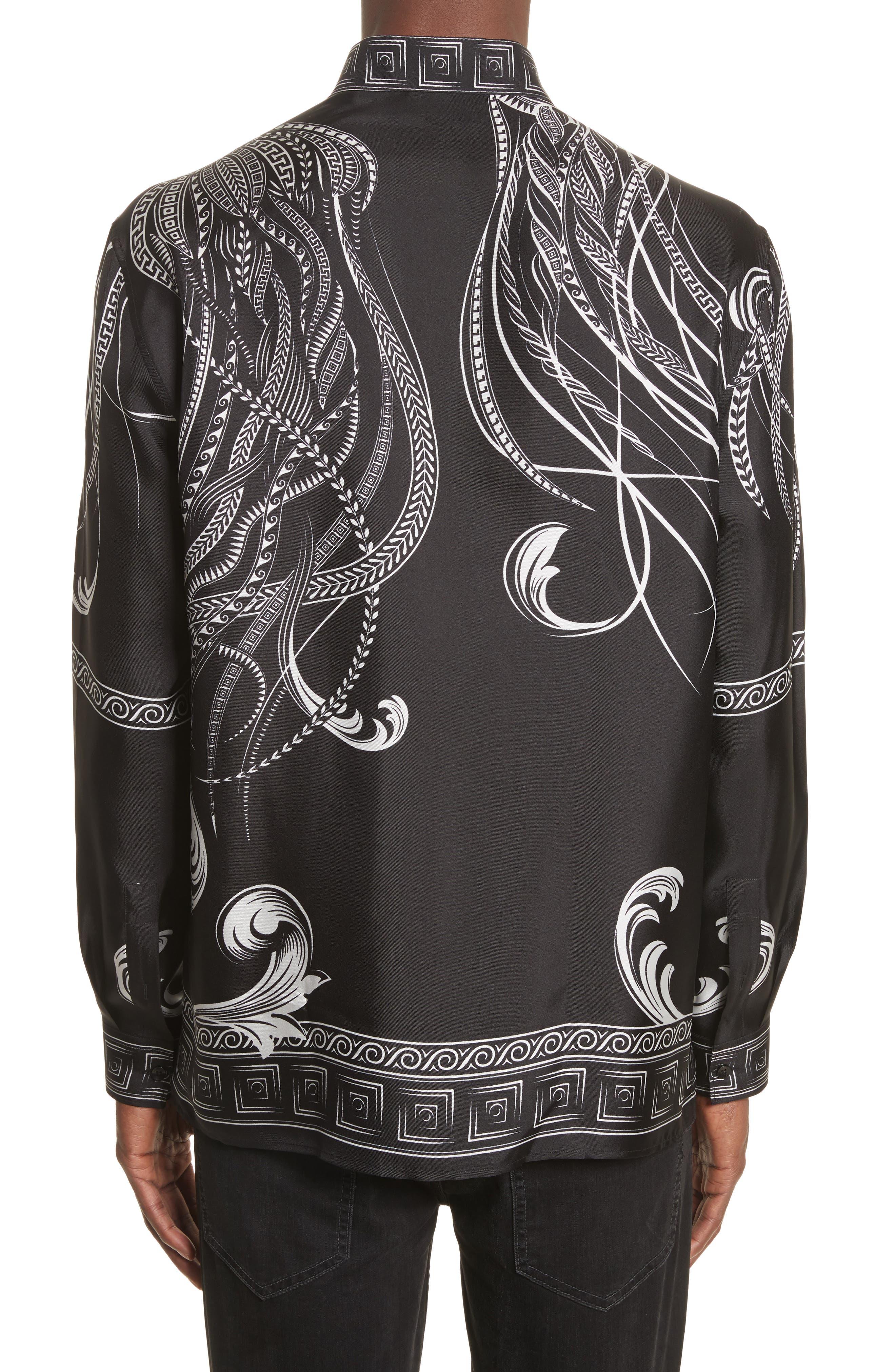 Print Silk Shirt,                             Alternate thumbnail 3, color,                             Black Paint