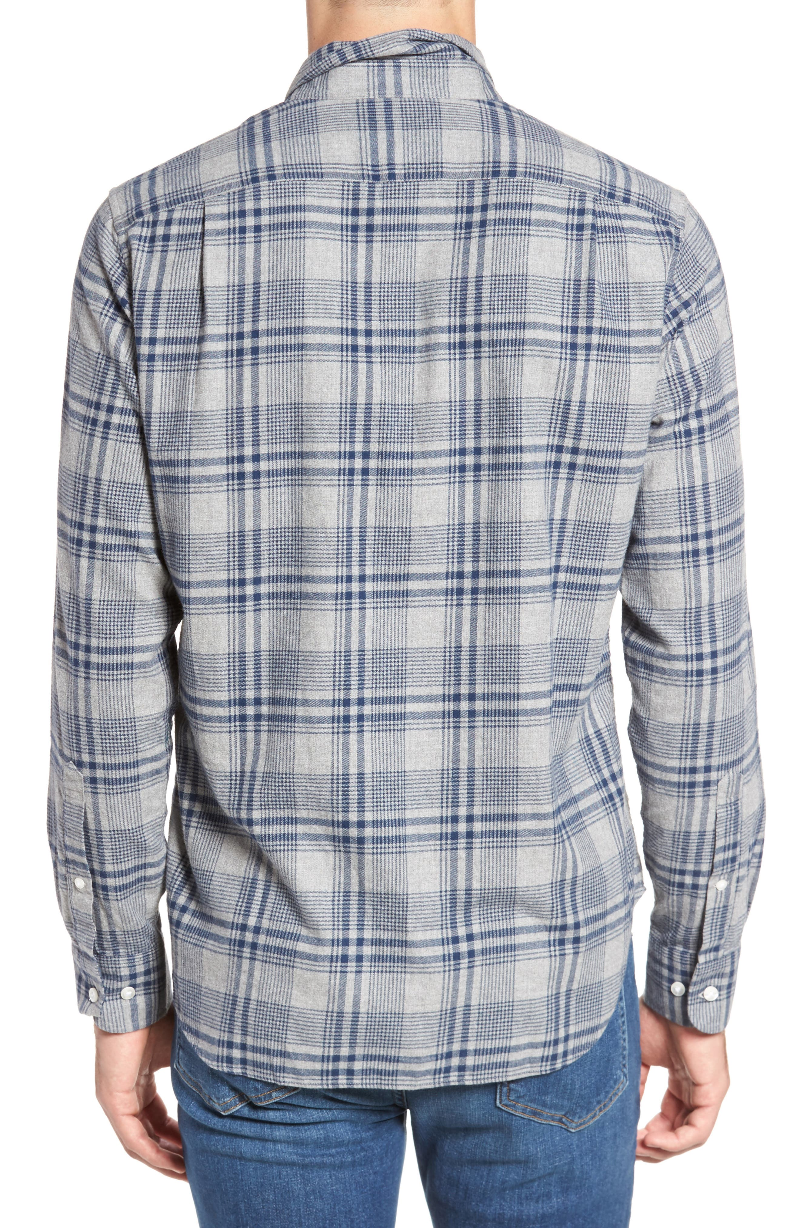 Slim Fit Brushed Plaid Sport Shirt,                             Alternate thumbnail 2, color,                             Rivercrest Plaid Navy