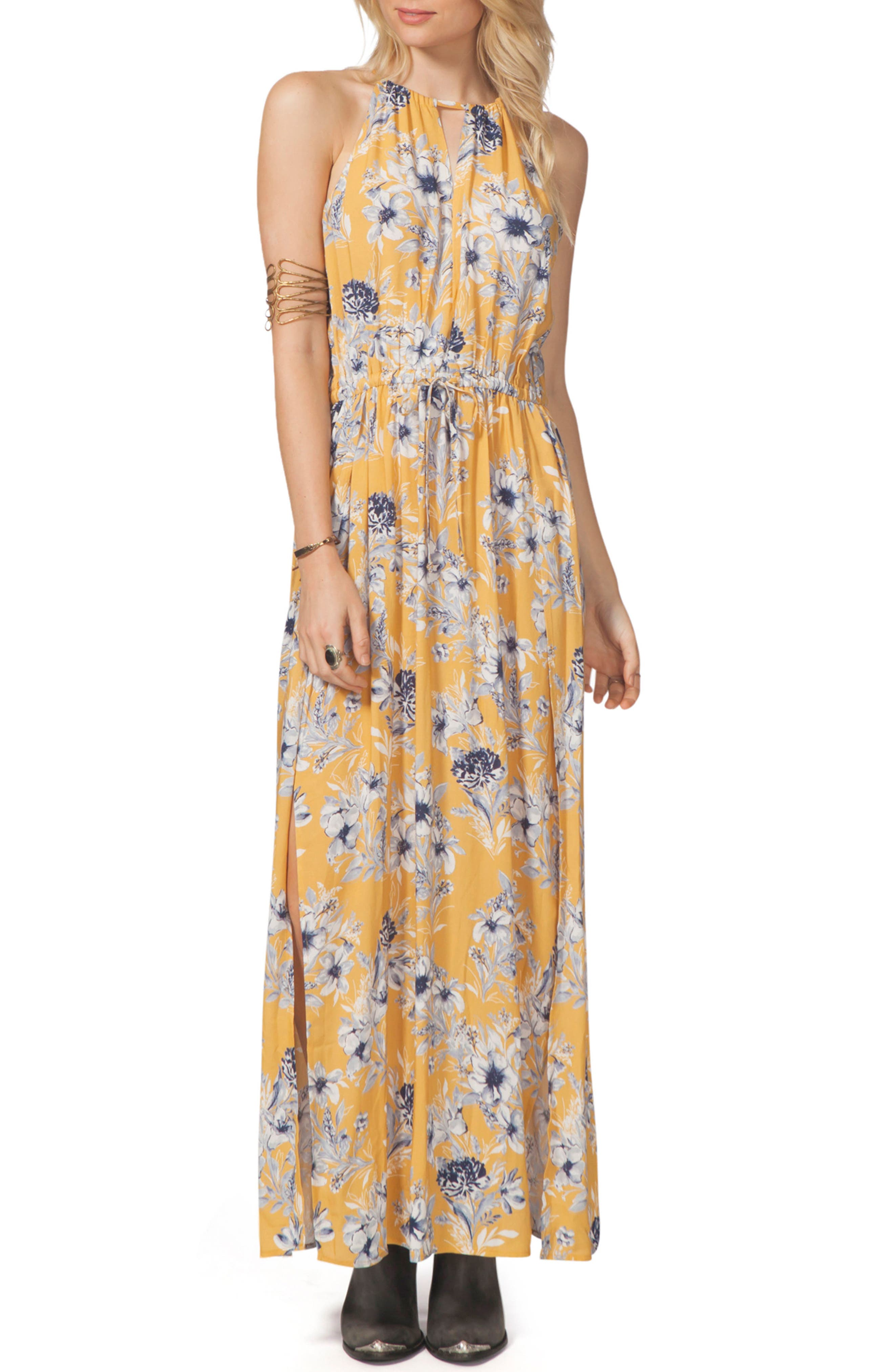 Lovely Day Maxi Dress,                             Main thumbnail 1, color,                             Mustard