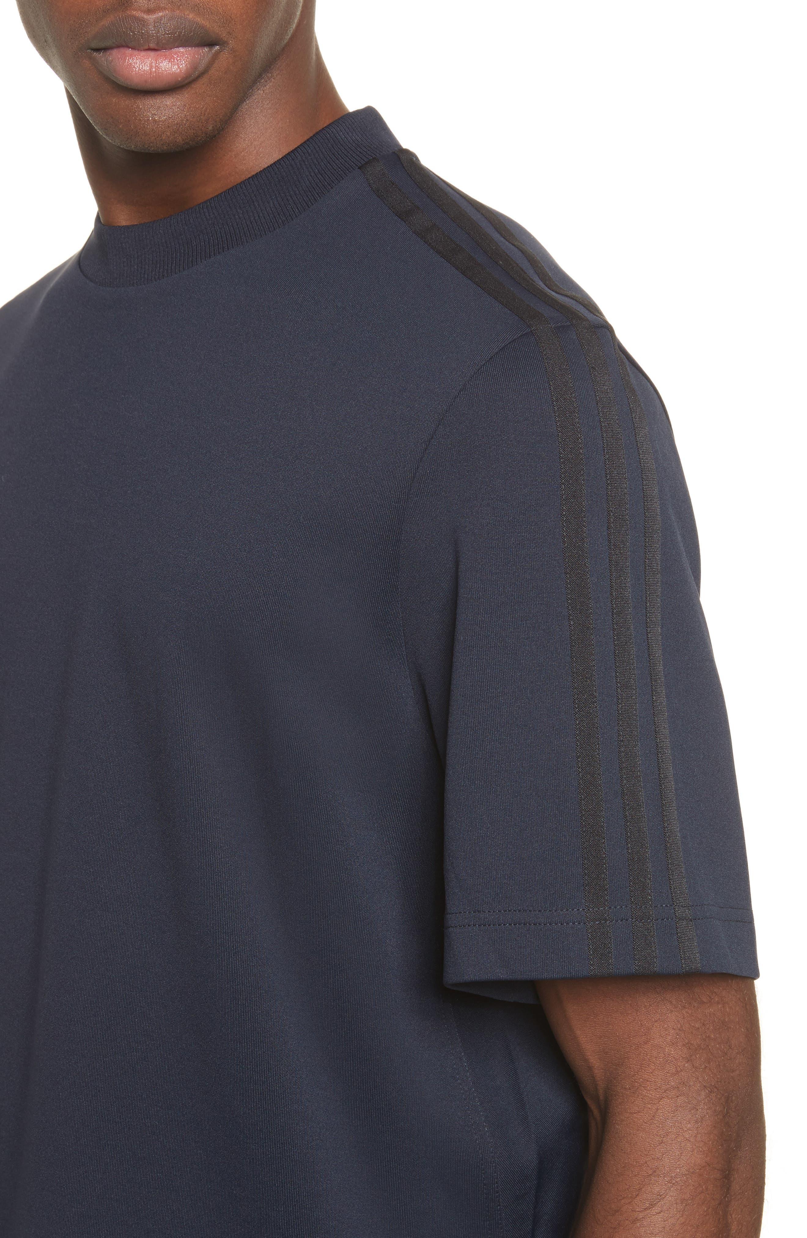 x adidas Tonal Stripe Crewneck T-Shirt,                             Alternate thumbnail 4, color,                             Navy