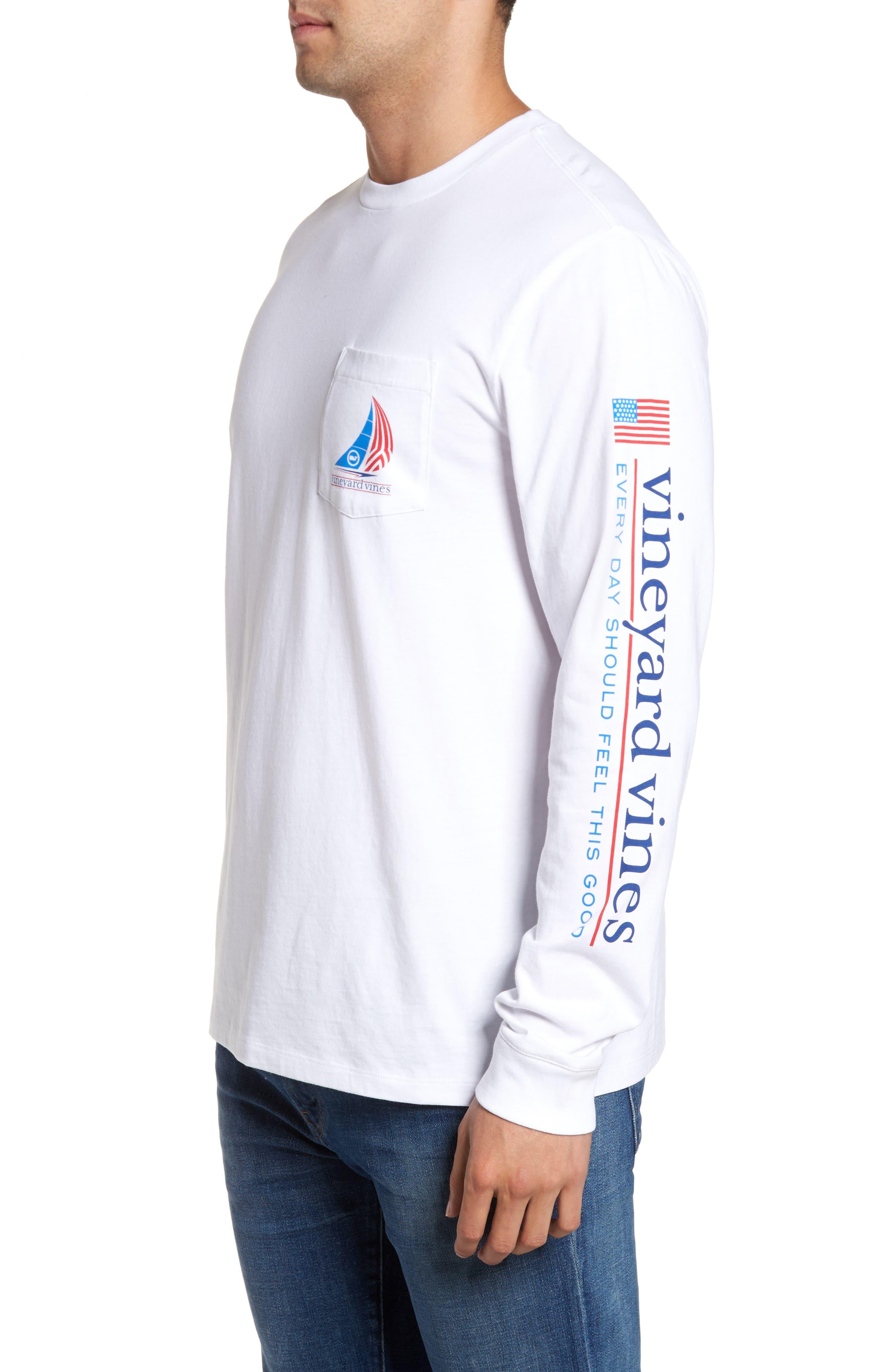 Spinnaker Sail Long Sleeve Pocket T-Shirt,                             Alternate thumbnail 3, color,                             White Cap