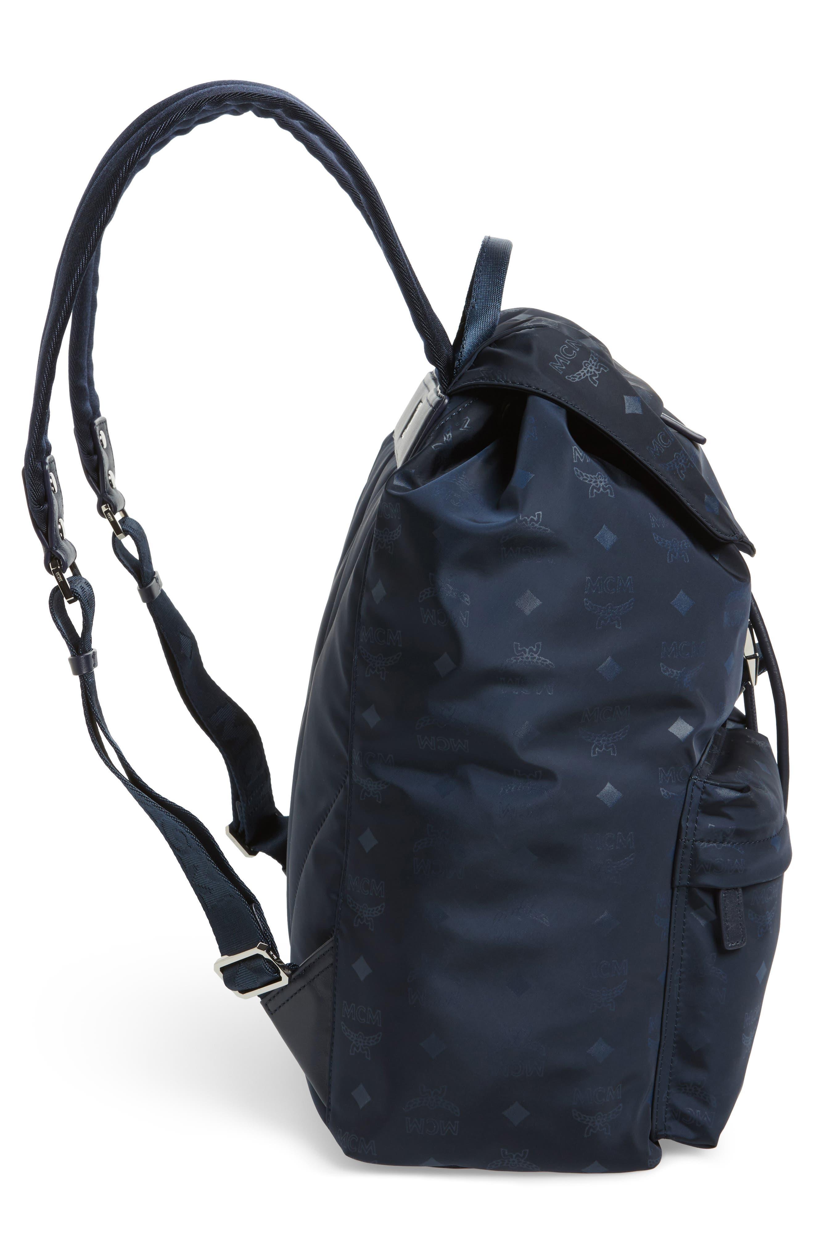 Small Dieter Monogrammed Nylon Backpack,                             Alternate thumbnail 5, color,                             Navy