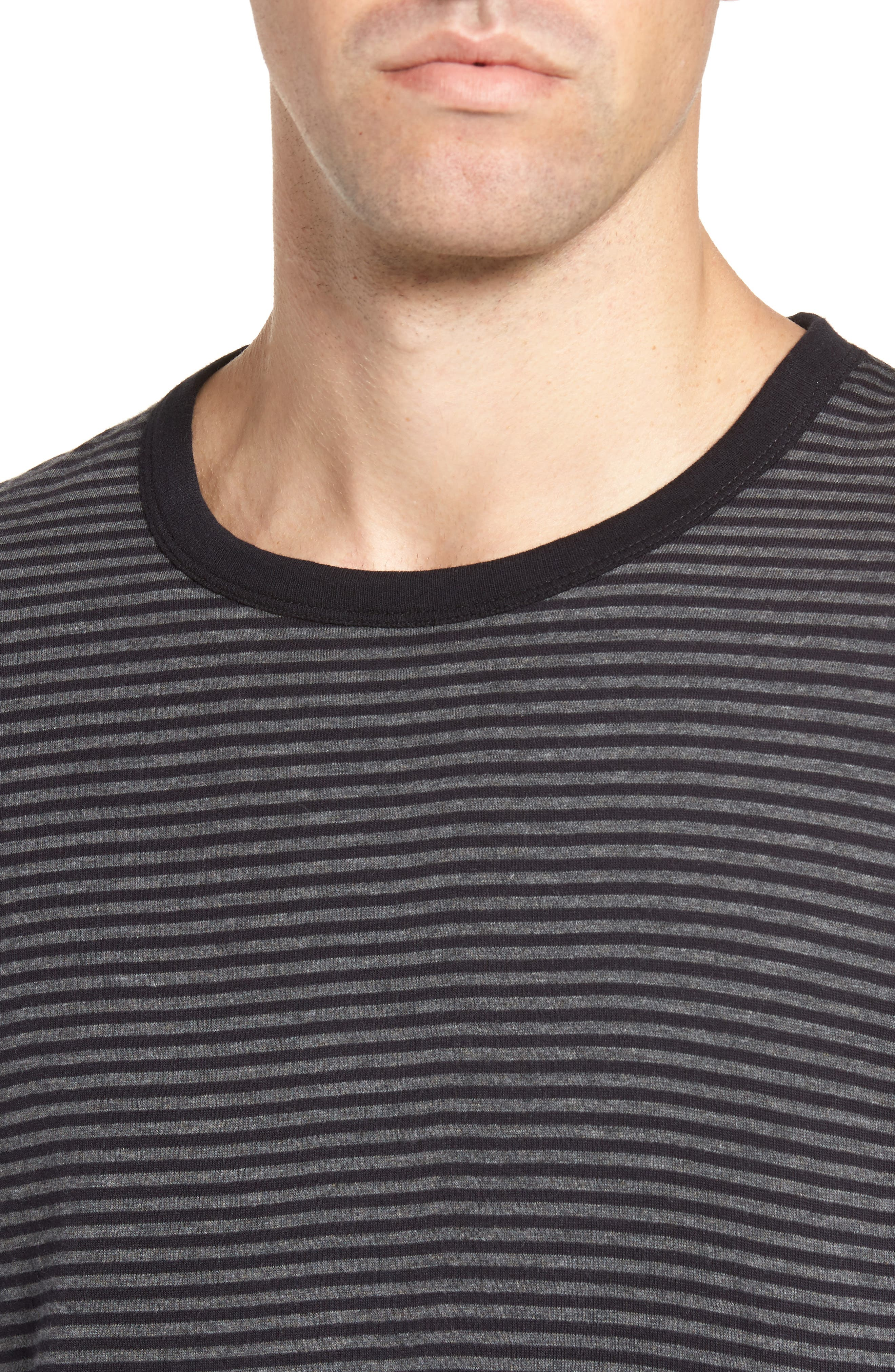 Alternative Stripe Long Sleeve T-Shirt,                             Alternate thumbnail 4, color,                             Charcoal Melange/ Black