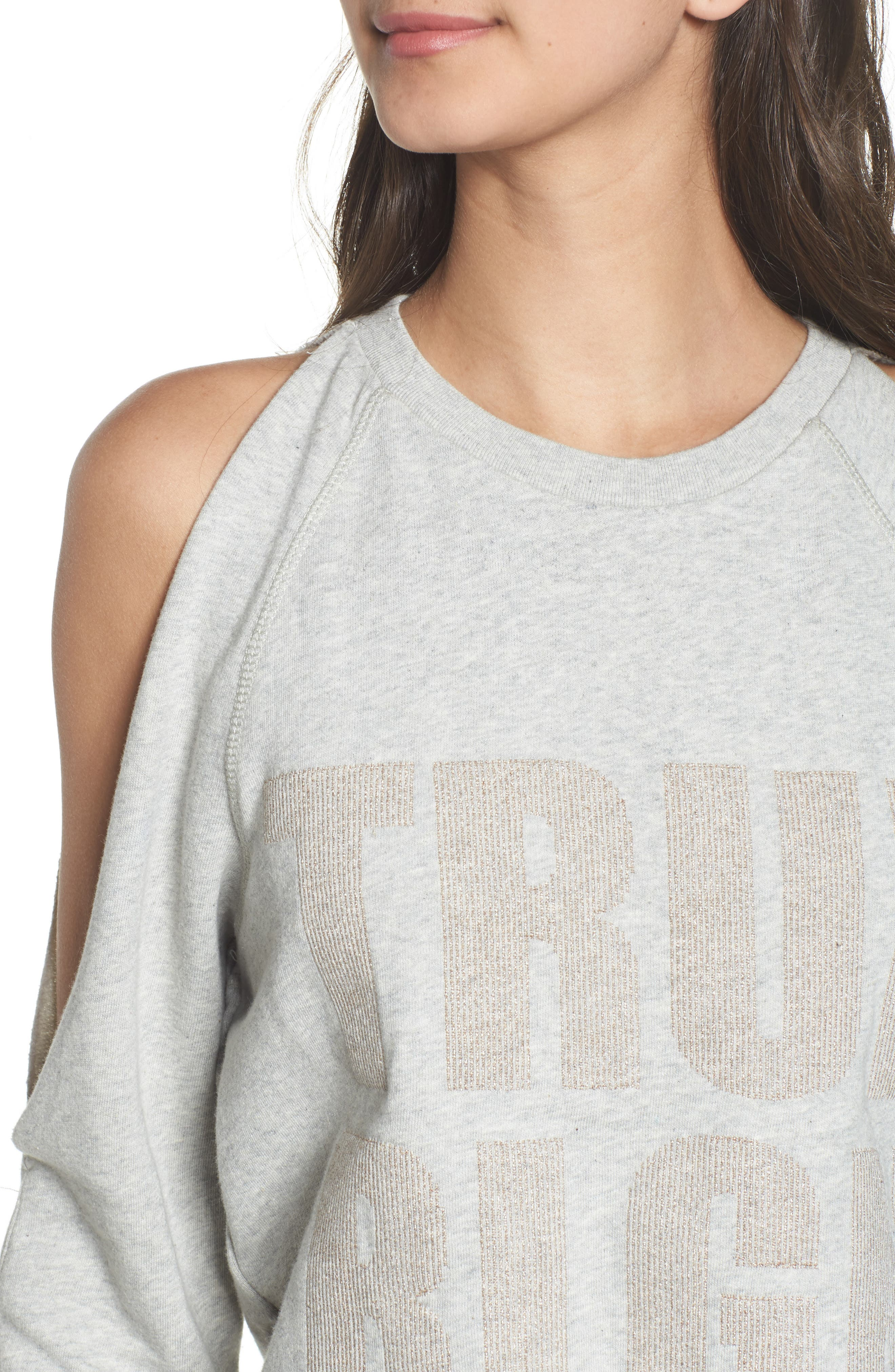 Cold Shoulder Crop Sweatshirt,                             Alternate thumbnail 4, color,                             Heather Grey