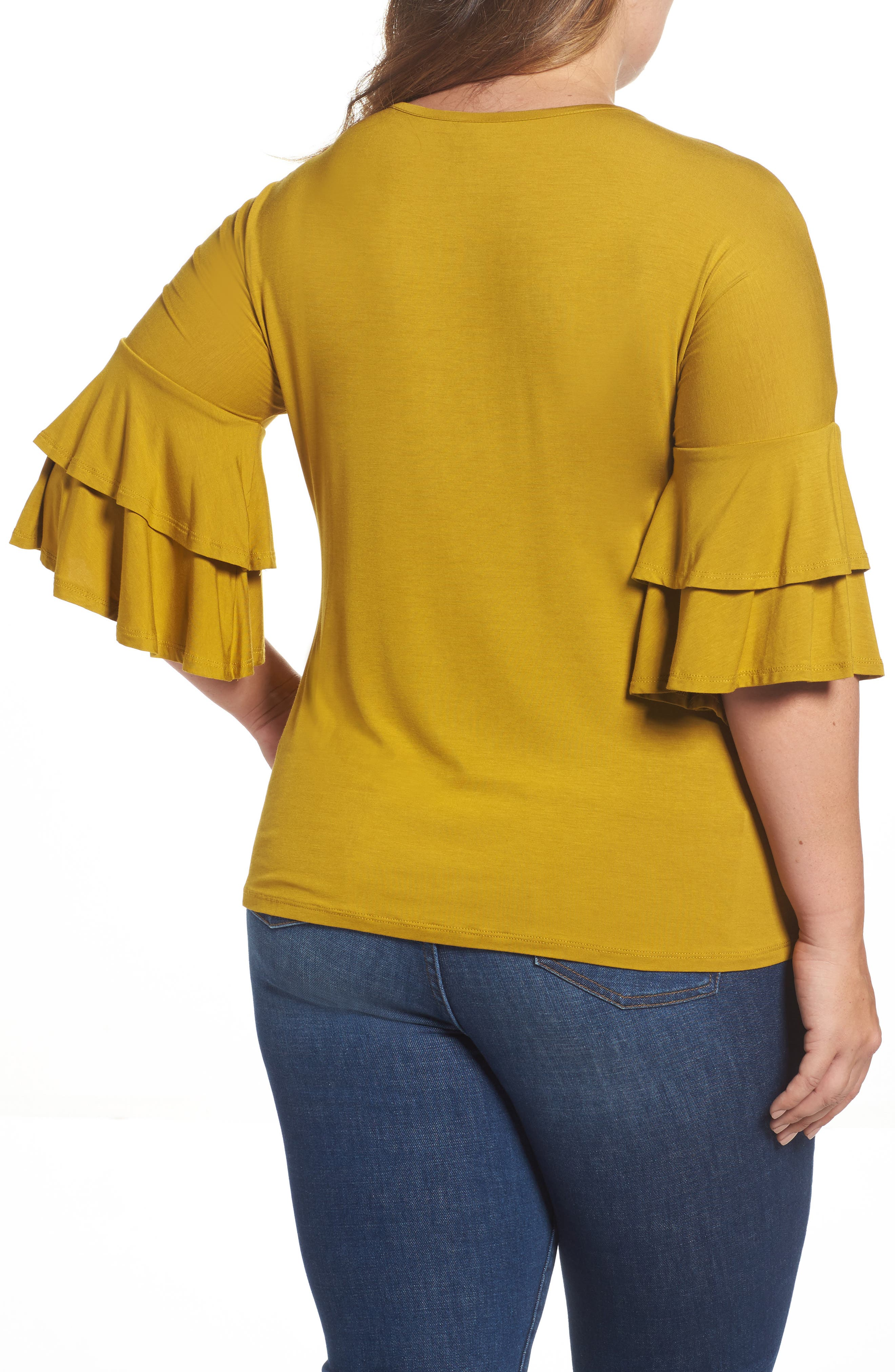 Double Ruffle Sleeve Top,                             Alternate thumbnail 2, color,                             Olive Light
