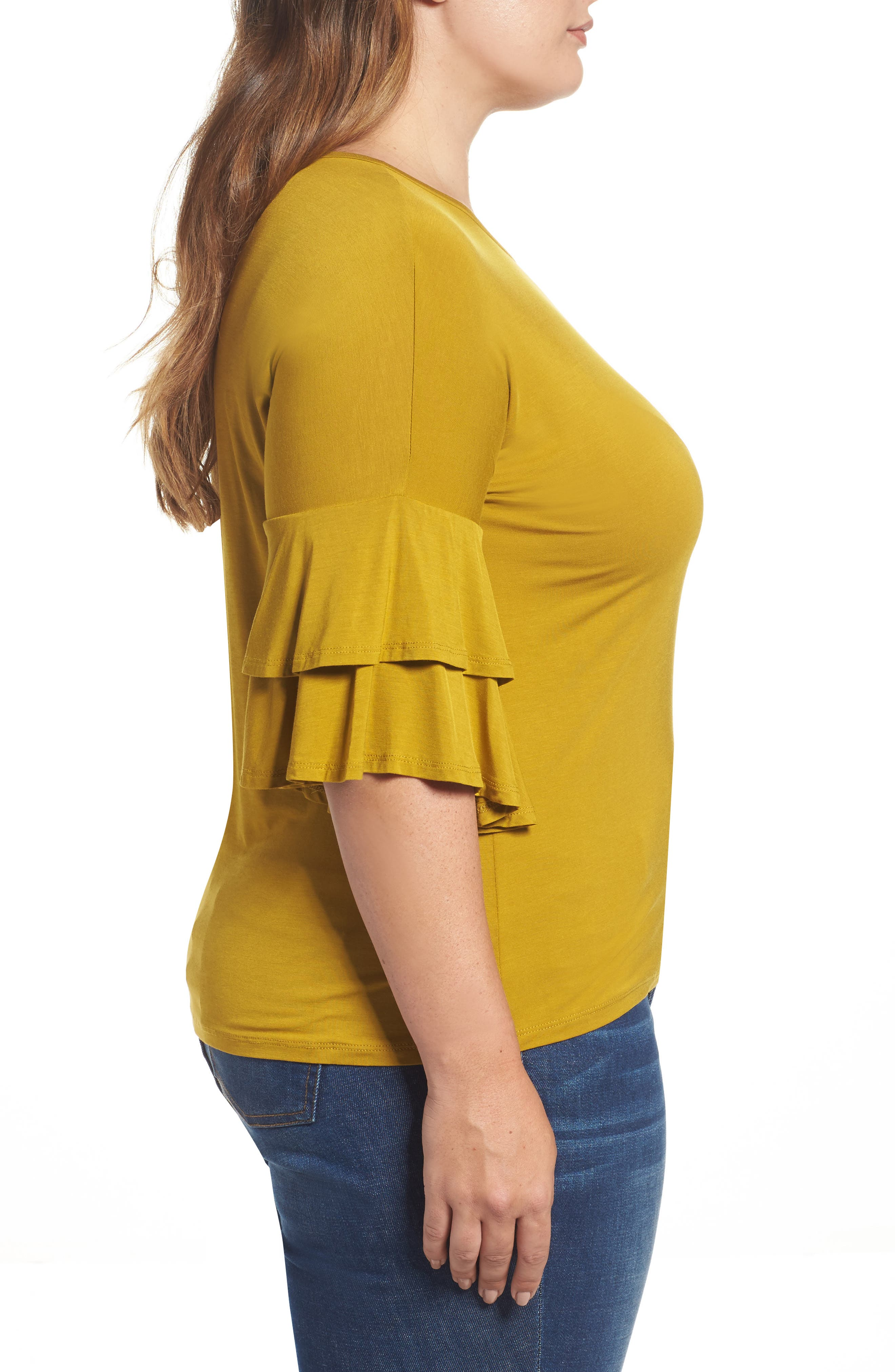 Double Ruffle Sleeve Top,                             Alternate thumbnail 3, color,                             Olive Light