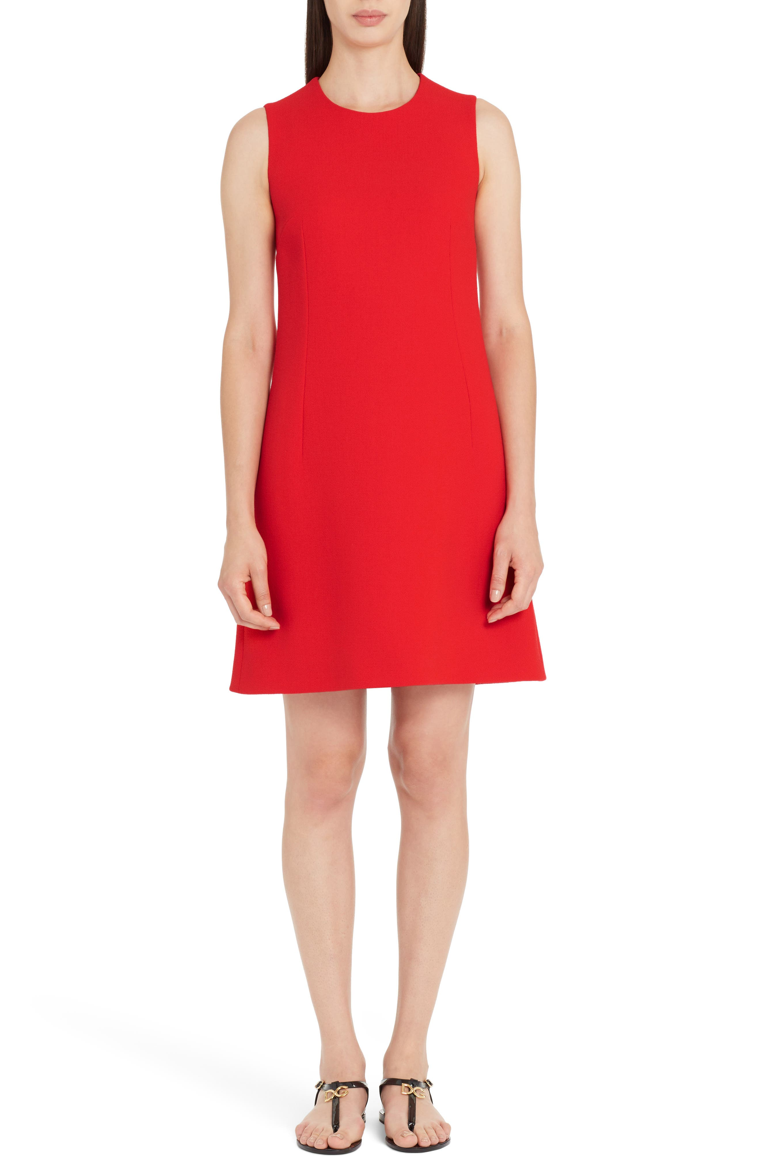 Crepe Shift Dress,                         Main,                         color, Red