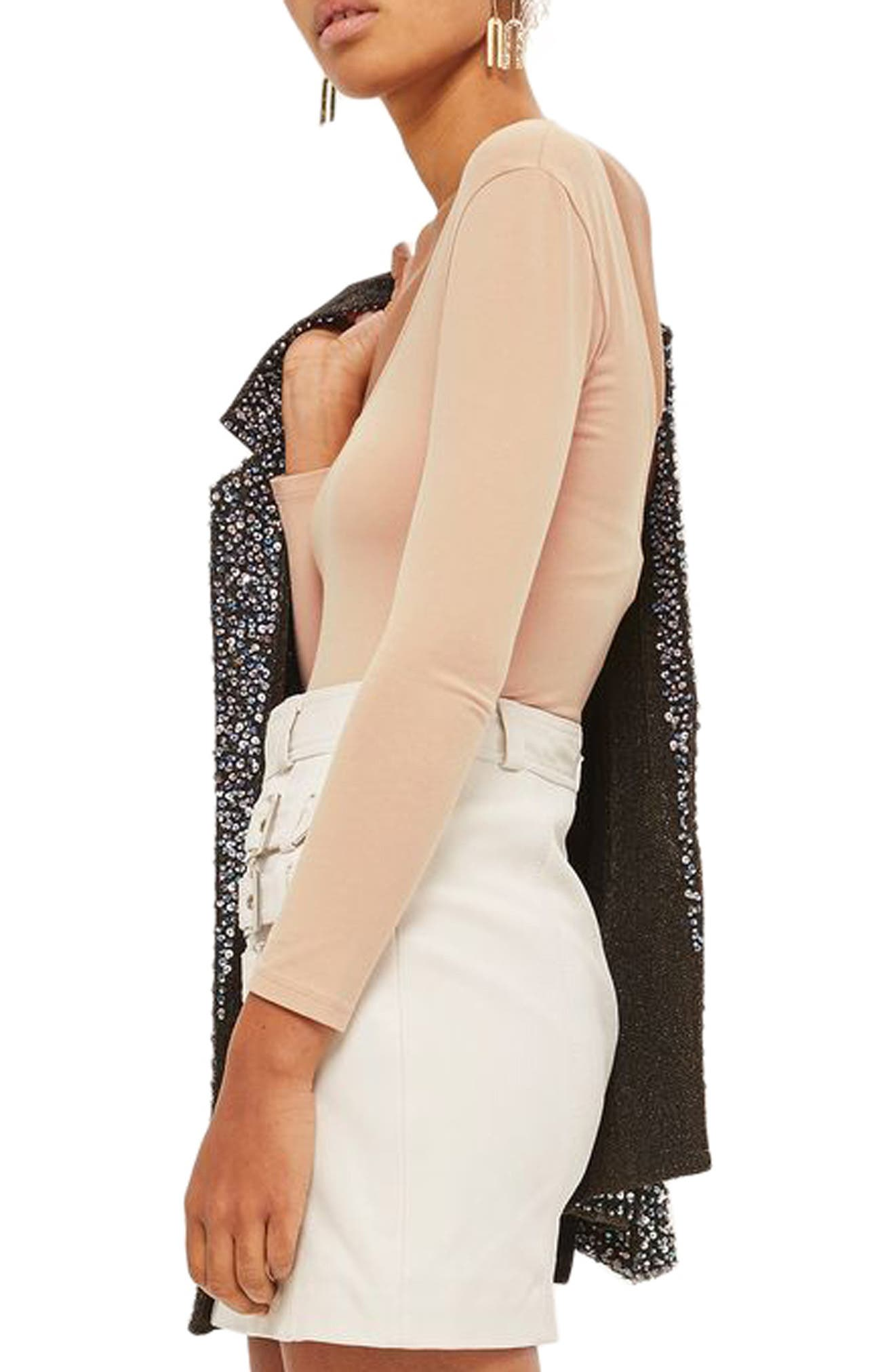 Alternate Image 3  - Topshop Stretch Cotton Long Sleeve Bodysuit