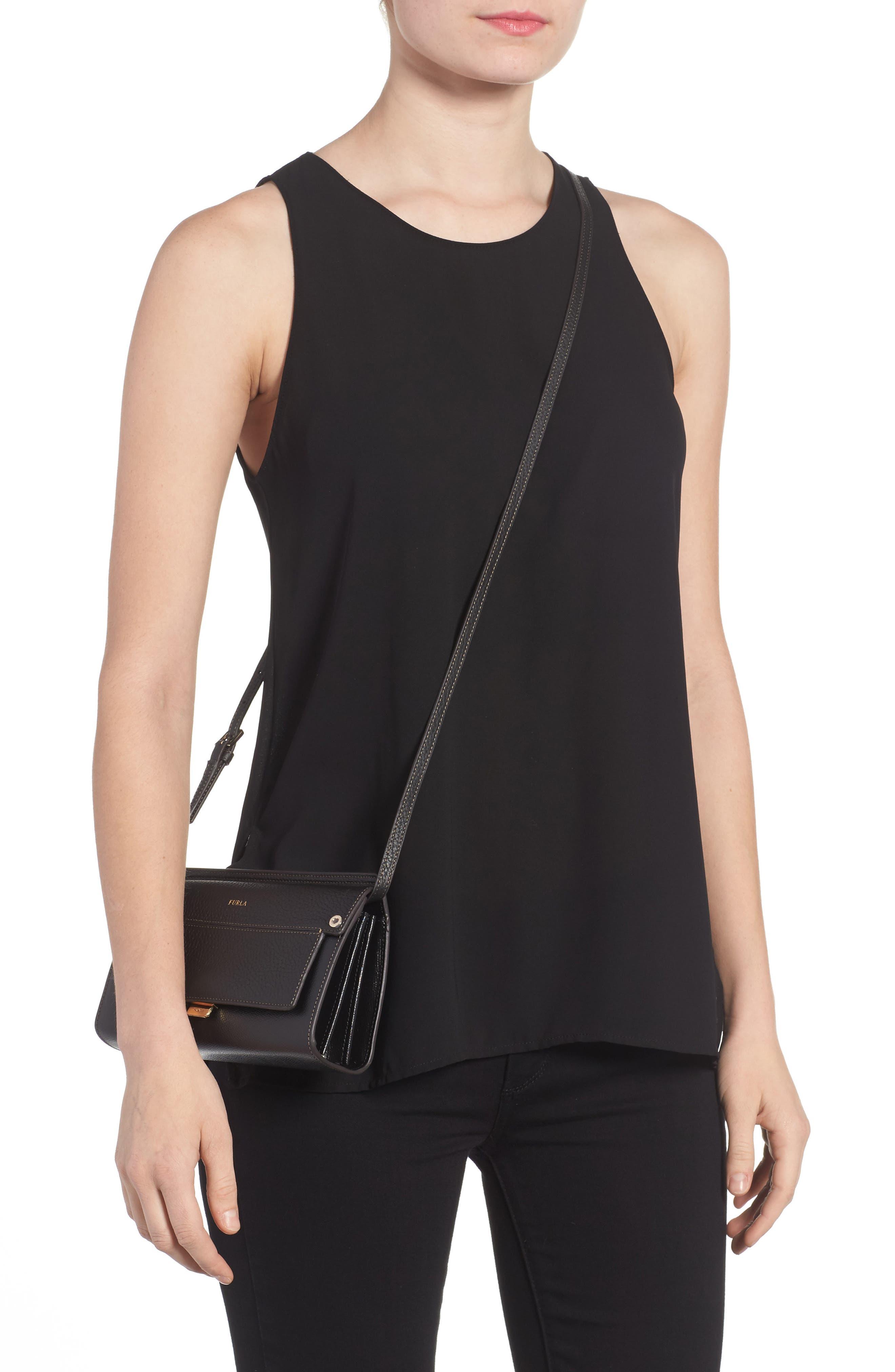 Mini Like Leather Crossbody Bag,                             Alternate thumbnail 2, color,                             Onyx