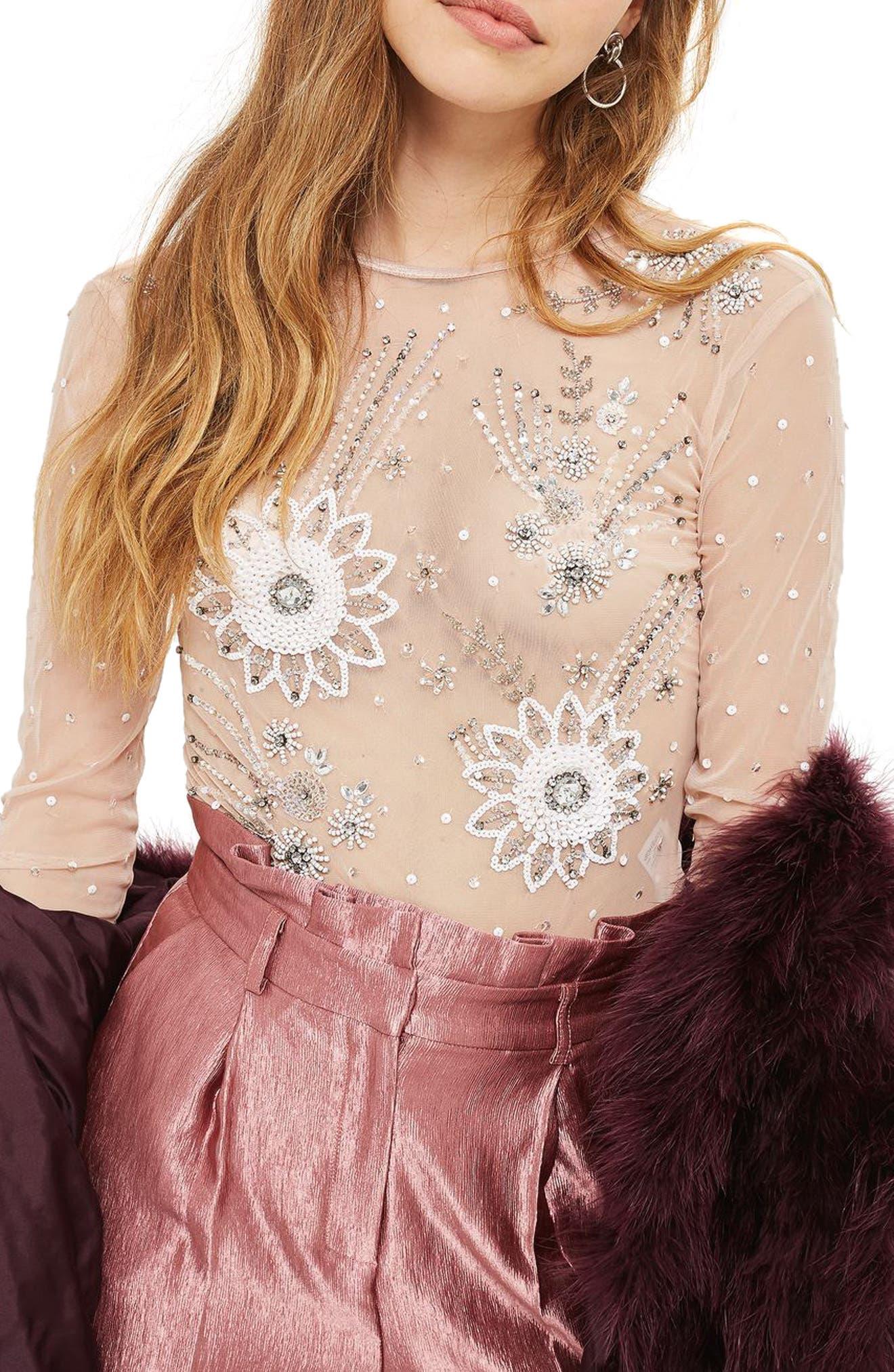 Topshop Embellished Sheer Bodysuit