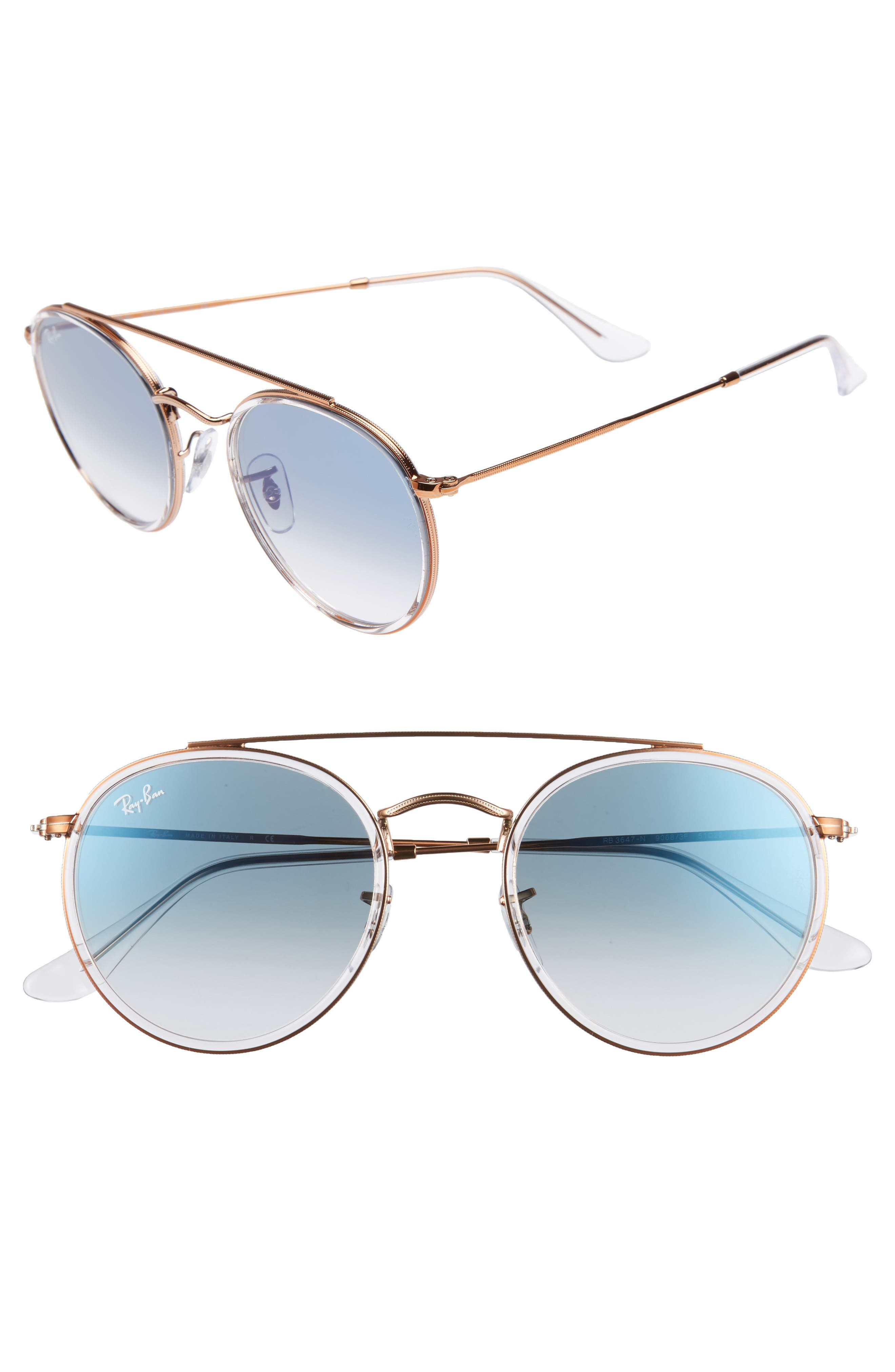 51mm Aviator Gradient Lens Sunglasses,                             Main thumbnail 1, color,                             Blue Transparent