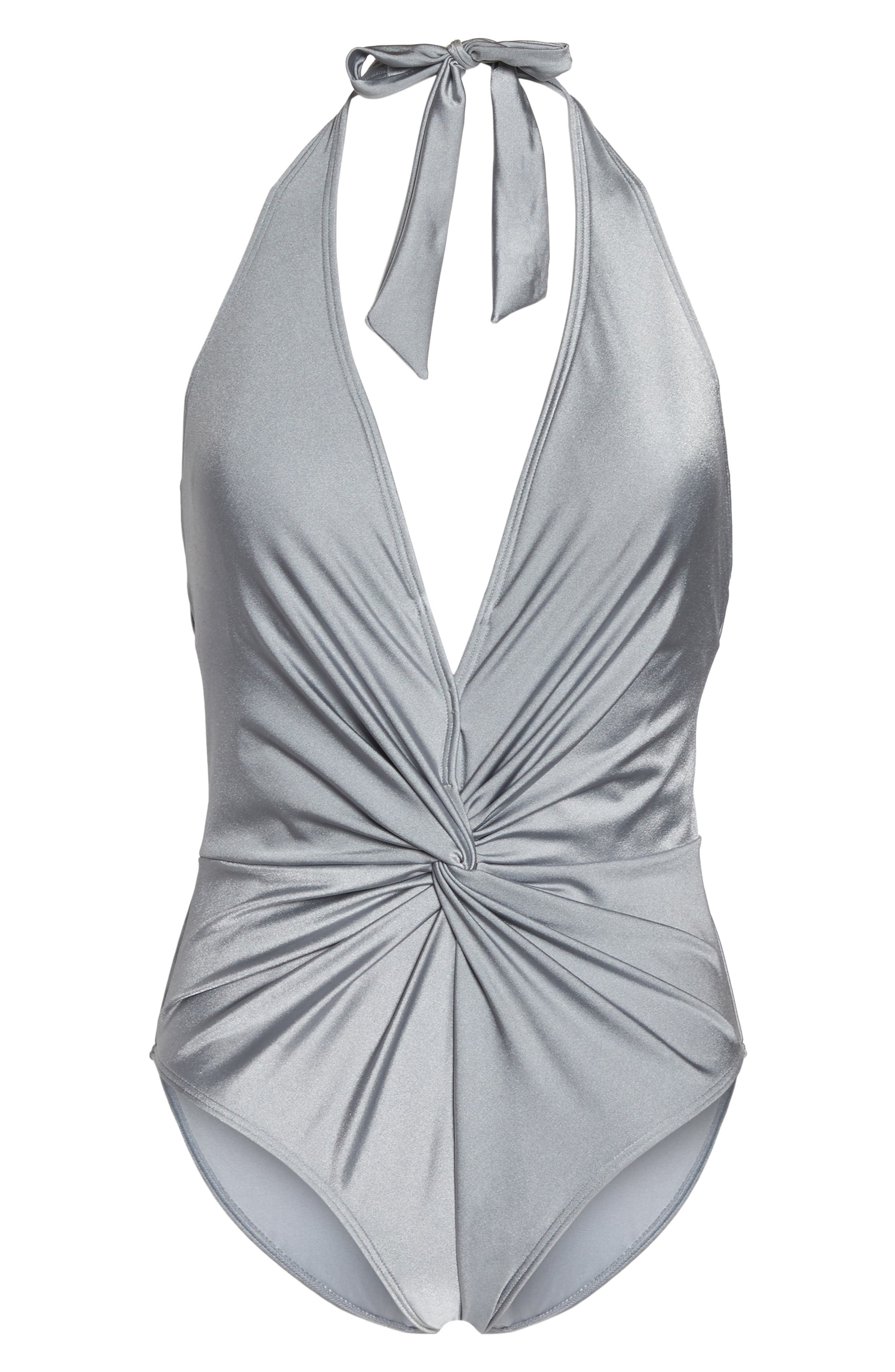 Low Knot One-Piece Swimsuit,                             Alternate thumbnail 6, color,                             Shimmer Grey