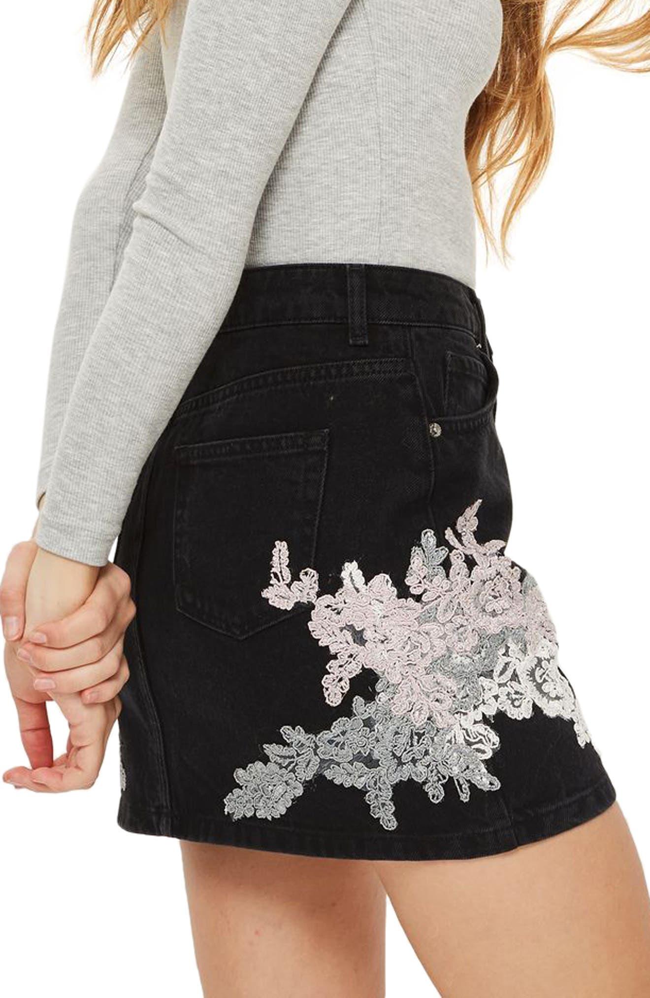 Lace Appliqué Denim Skirt,                             Alternate thumbnail 3, color,                             Black Multi
